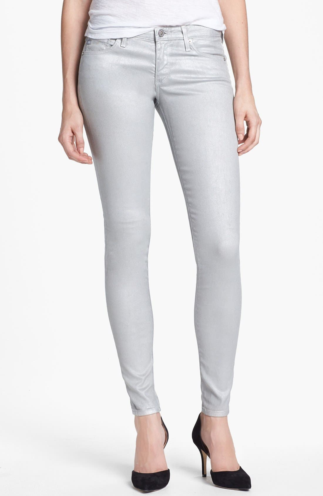 Main Image - AG Jeans 'The Absolute Legging' Metallic Skinny Jeans (Eyeshadow Silver)
