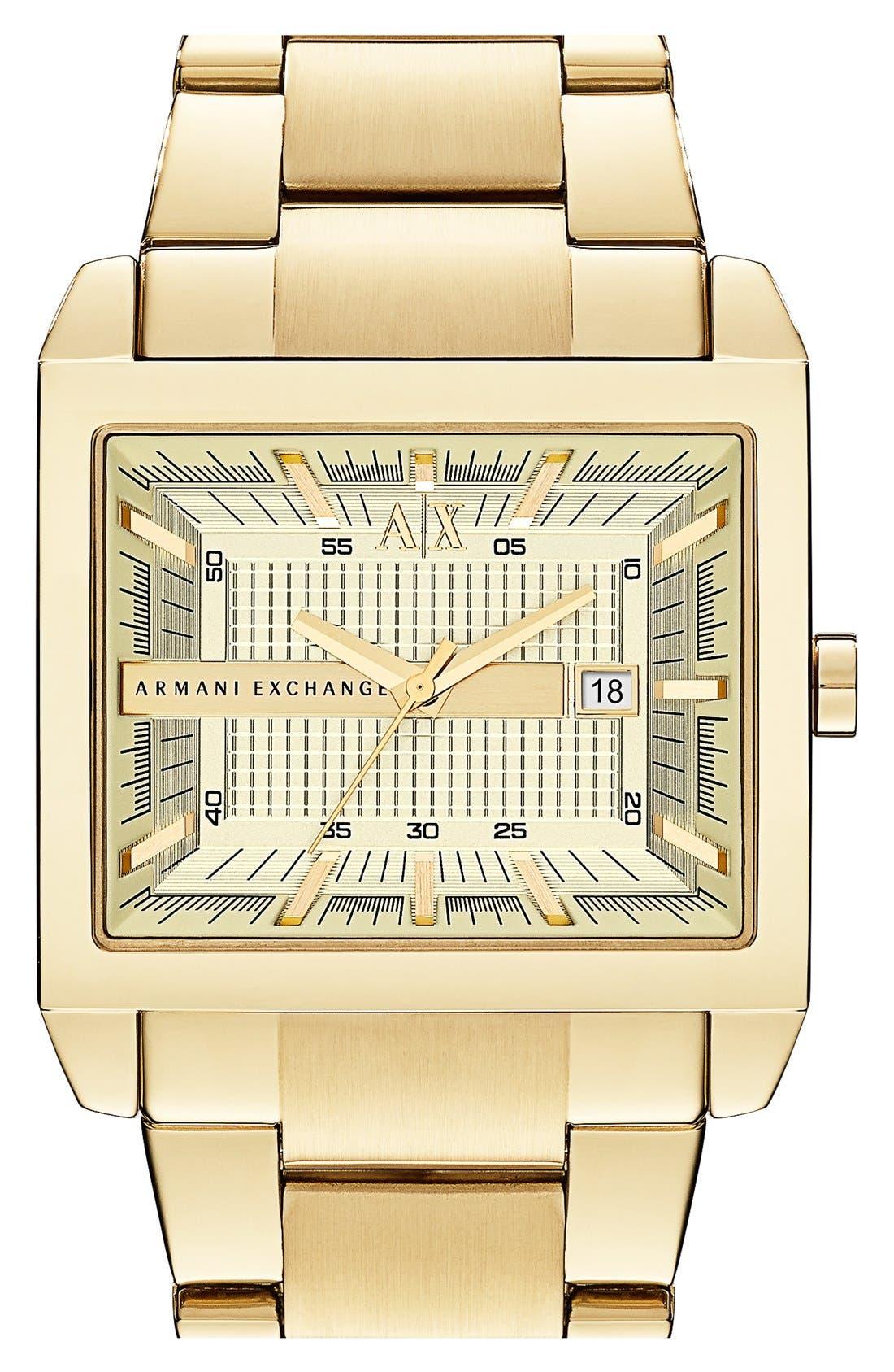 Alternate Image 1 Selected - AX Armani Exchange Rectangular Bracelet Watch