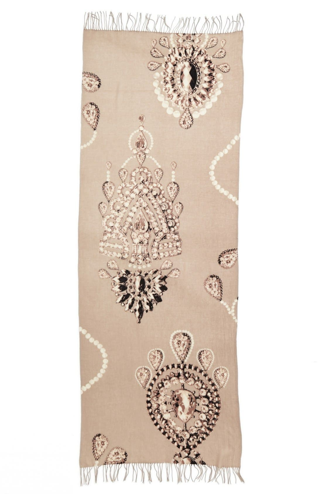 Alternate Image 2  - Nordstrom 'Romantic Jewels' Wool & Cashmere Scarf