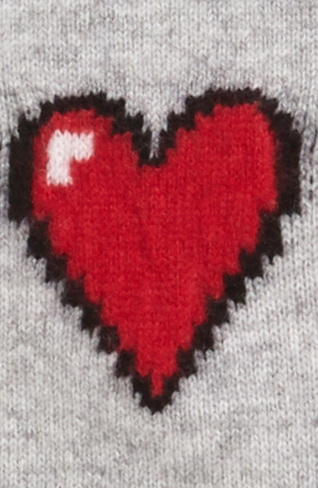 Alternate Image 2  - autumn cashmere Heart Pattern Fingerless Cashmere Gloves