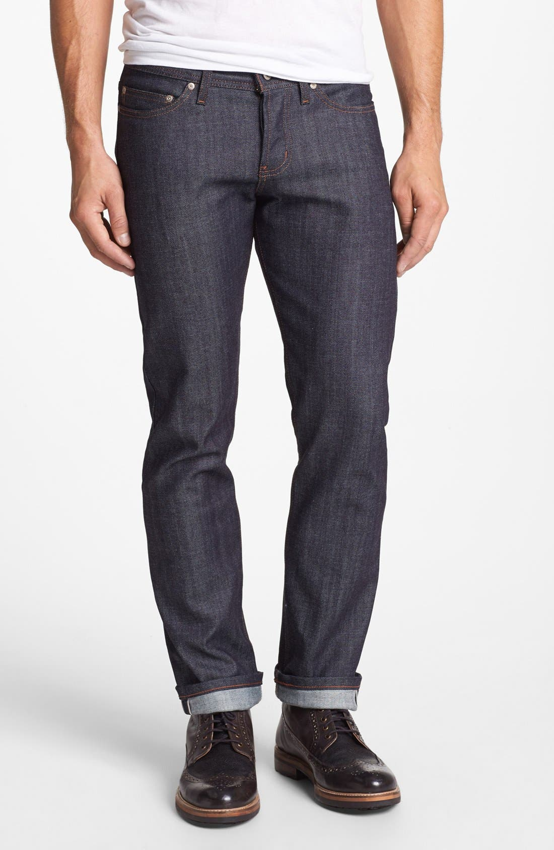 Weird Guy Slim Fit Raw Jeans,                             Main thumbnail 1, color,                             Stretch Selvedge