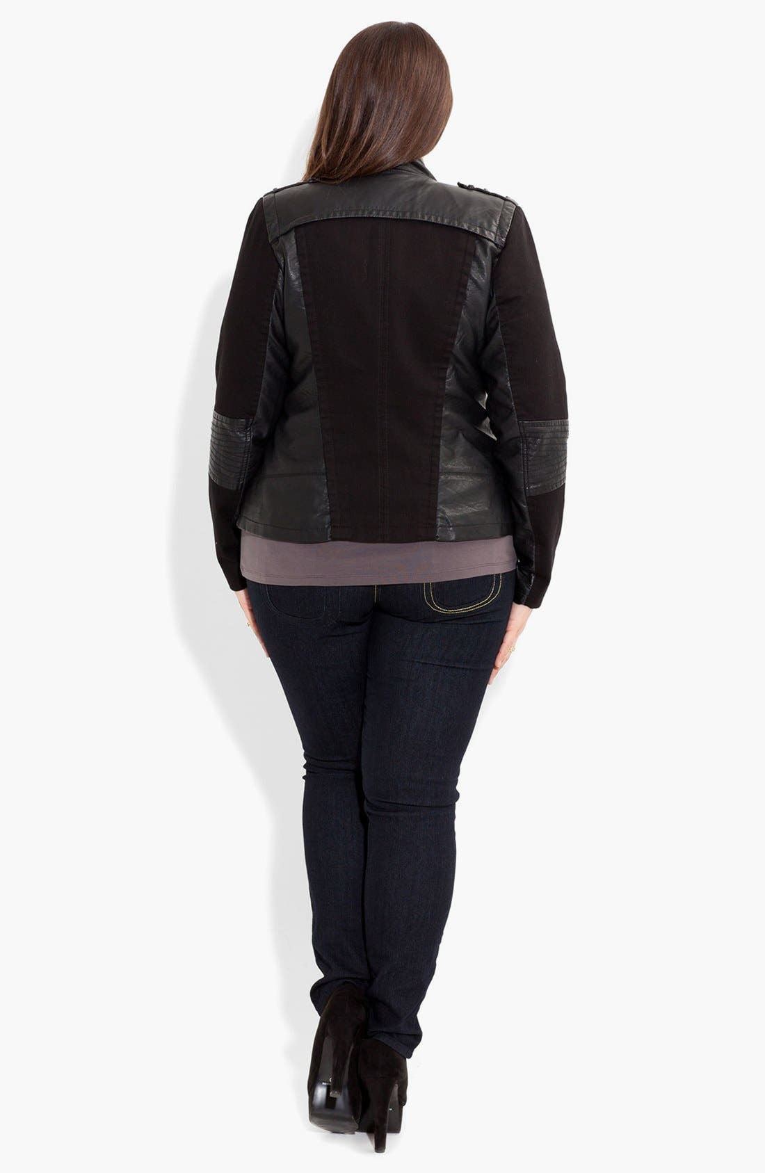 Alternate Image 2  - City Chic 'Suri' Faux Leather Spliced Jacket (Plus Size)