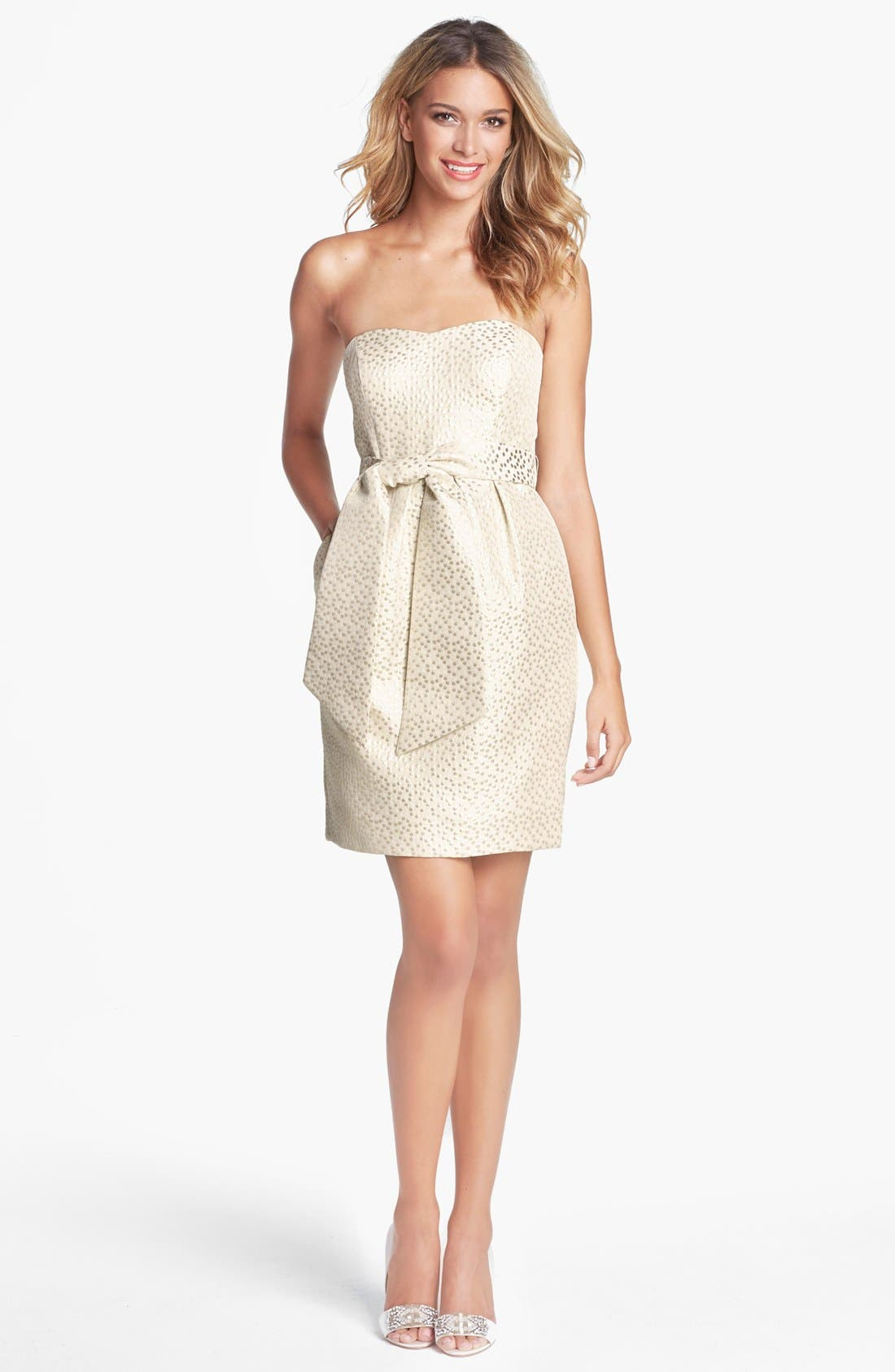 Metallic Jacquard Sheath Dress,                         Main,                         color, Gold Dot