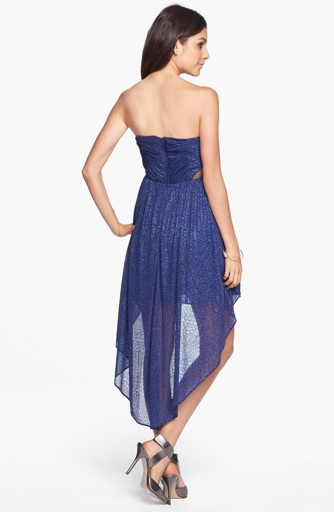 Alternate Image 2  - Hailey Logan Mesh Inset Glitter High/Low Dress (Juniors)