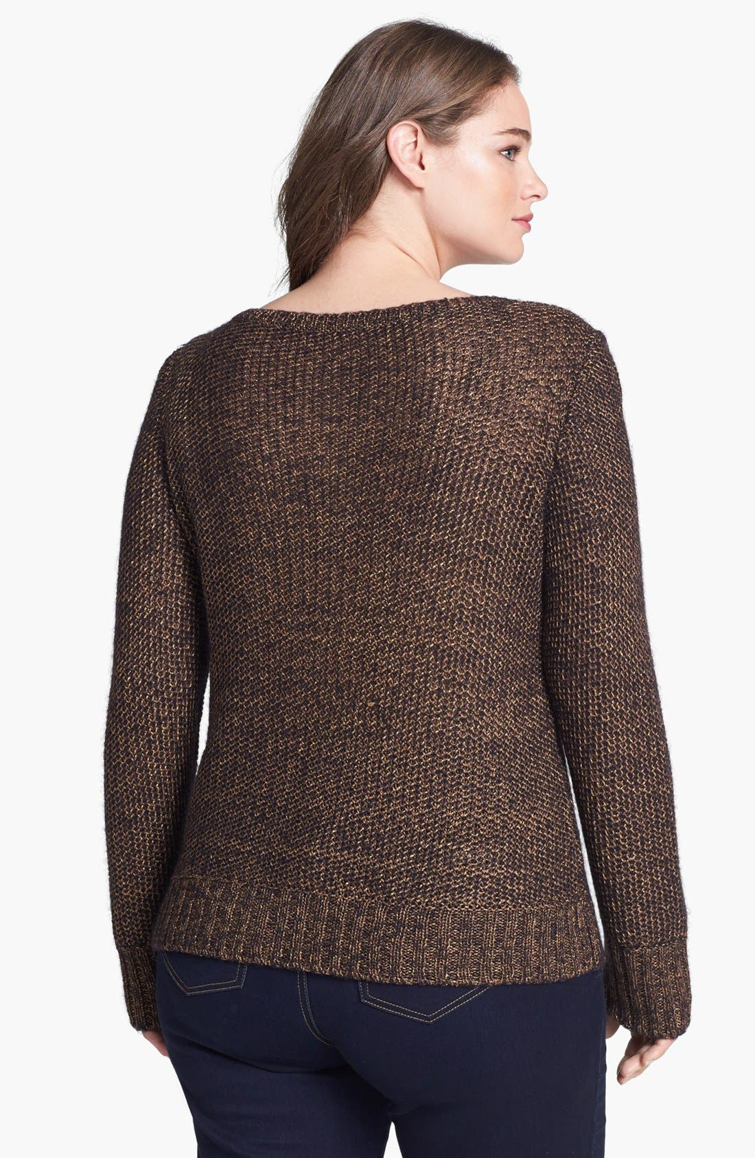 Alternate Image 2  - Eileen Fisher Metallic Sweater (Plus Size)