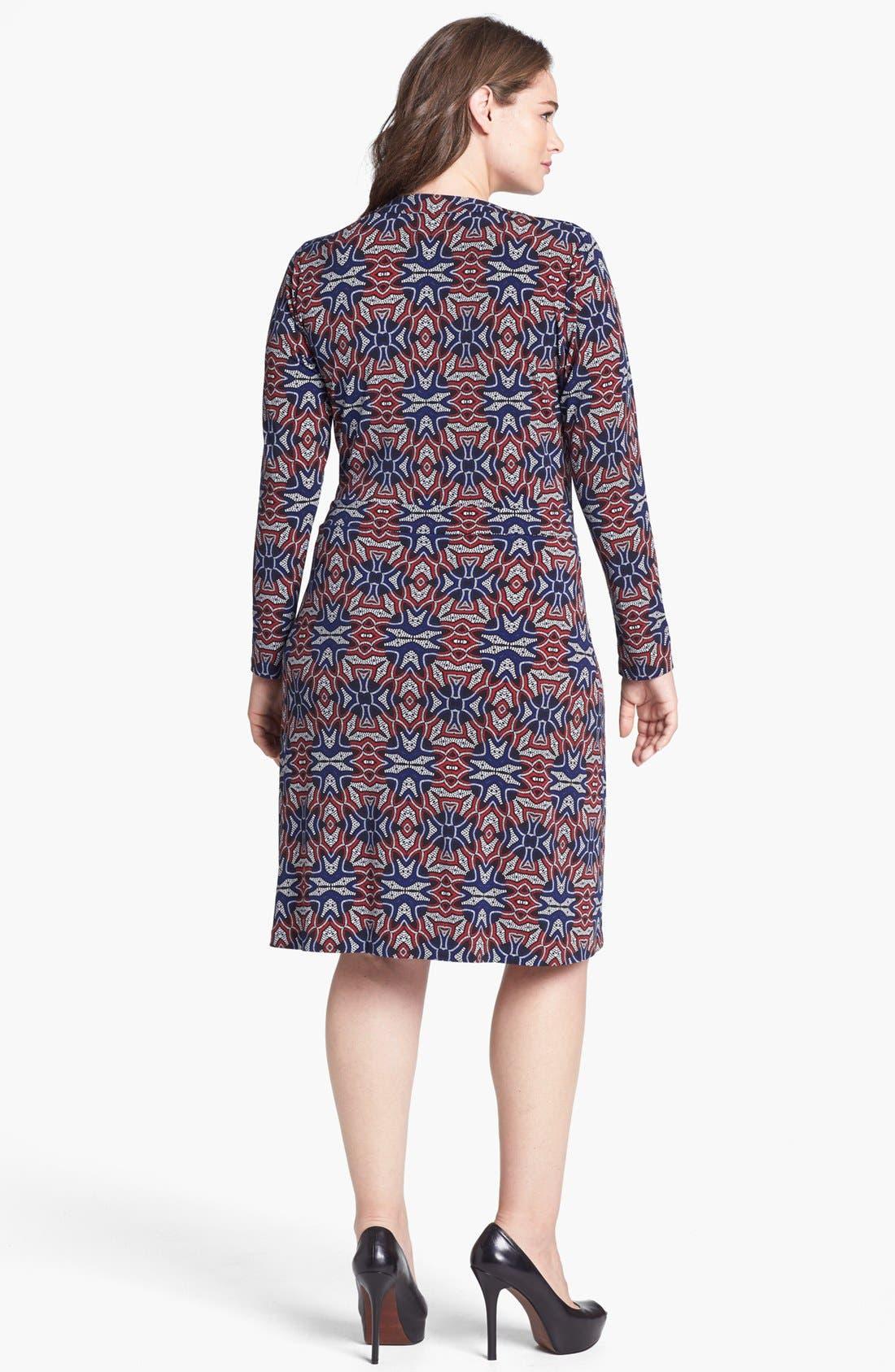 Alternate Image 2  - Anne Klein Print Faux Wrap Dress (Plus Size)