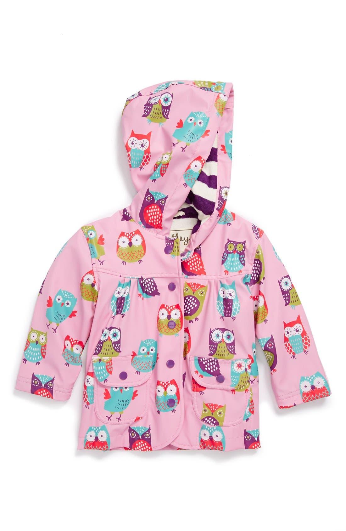 Alternate Image 1 Selected - Hatley 'Party Owls' Rain Jacket (Toddler Girls, Little Girls & Big Girls)