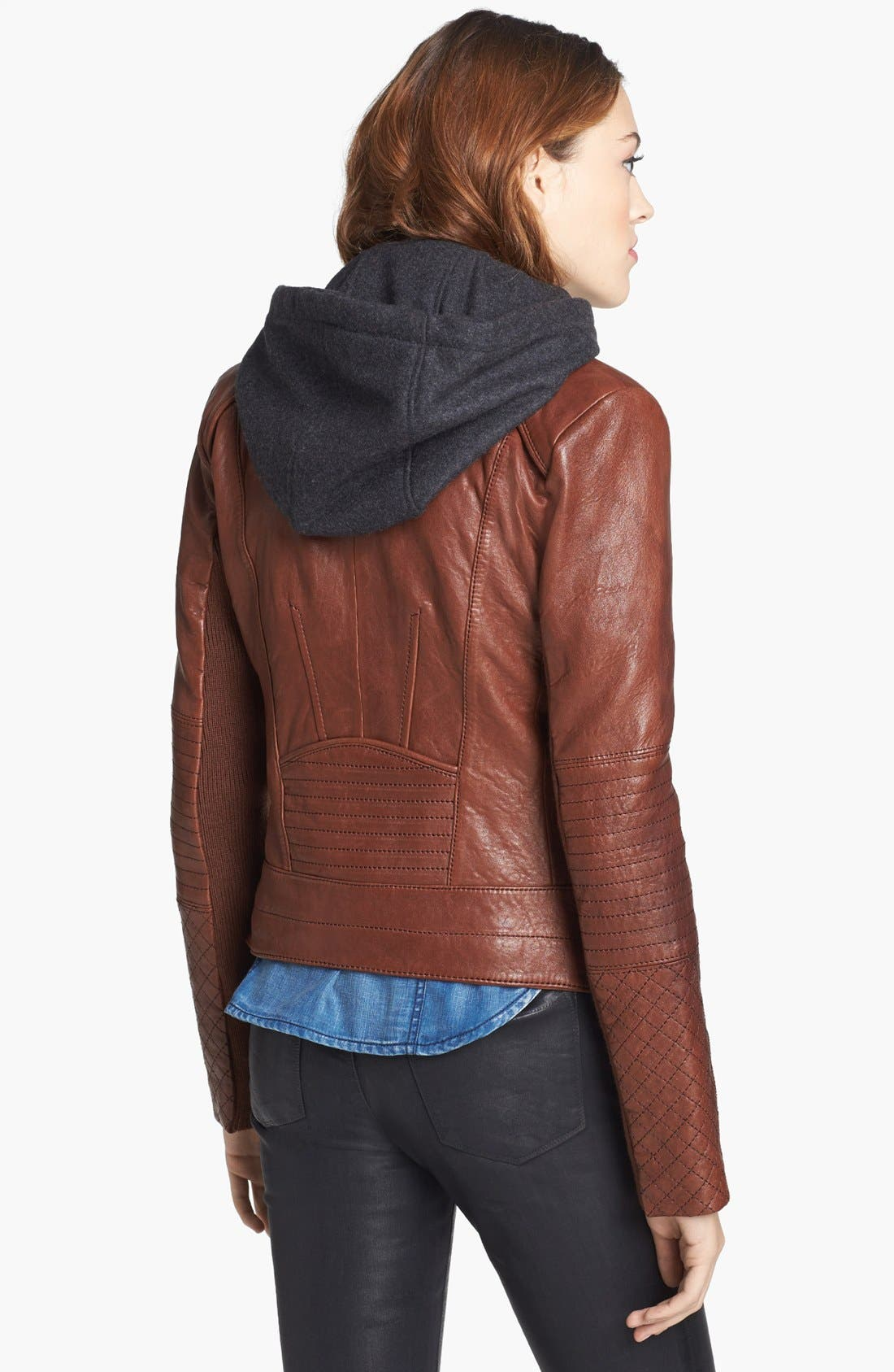 Alternate Image 2  - Andrew Marc 'Shay' Hooded Insert Leather Jacket