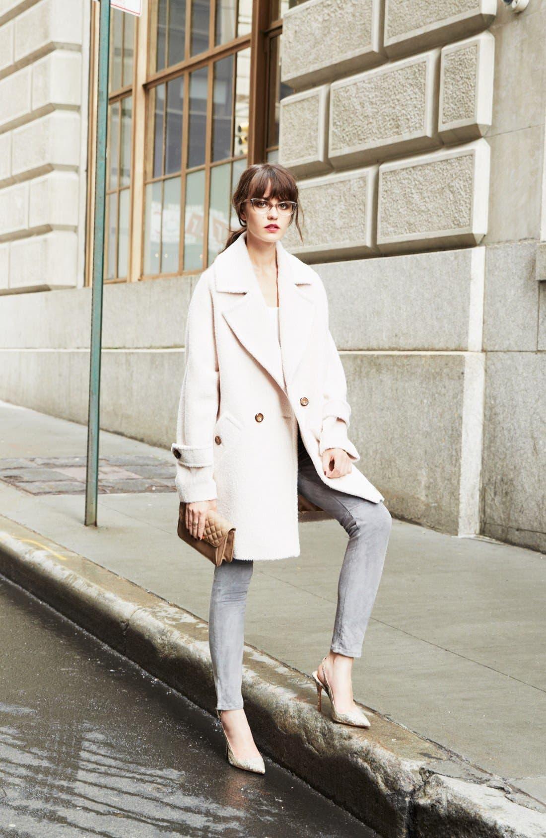 'Nancy' Sheared Wool & Alpaca Blend Coat,                             Alternate thumbnail 4, color,                             Champagne