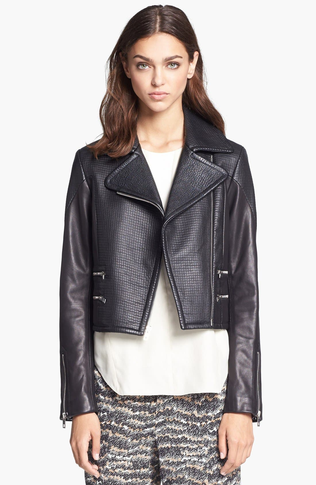 Alternate Image 1 Selected - rag & bone 'Hudson' Deerskin & Lambskin Leather Moto Jacket