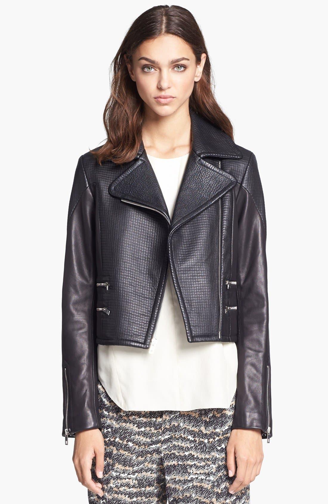 Main Image - rag & bone 'Hudson' Deerskin & Lambskin Leather Moto Jacket