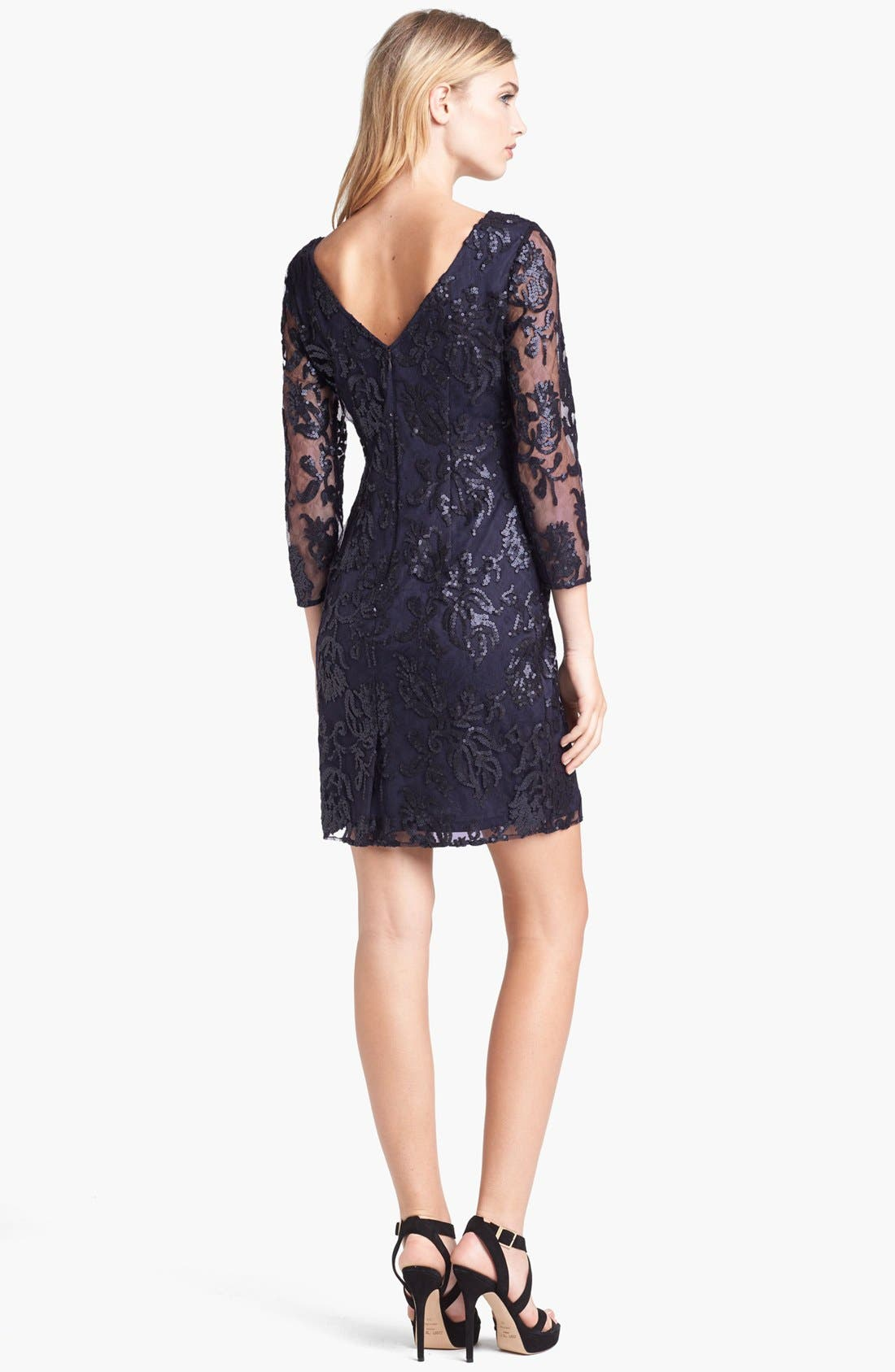 Alternate Image 2  - Adrianna Papell Sequin Lace Dress (Regular & Petite)