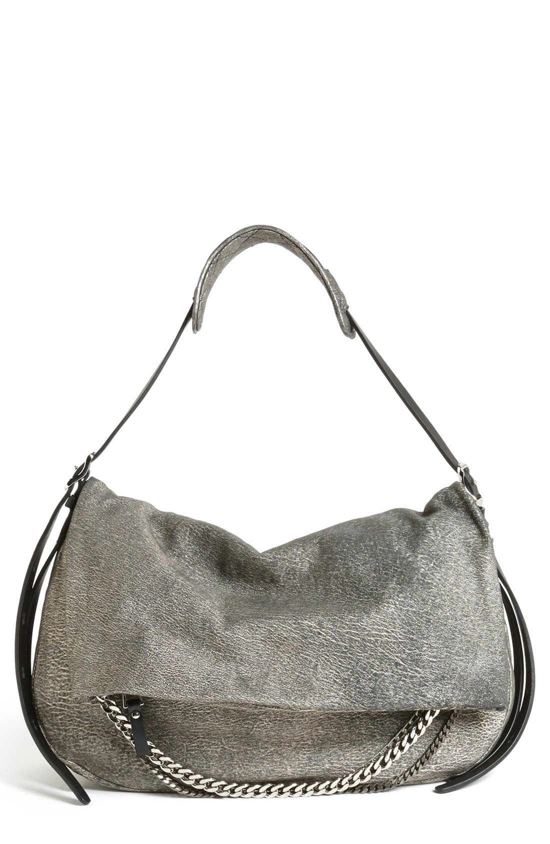 Main Image - Jimmy Choo 'Biker - Large' Metallic Suede Shoulder Bag