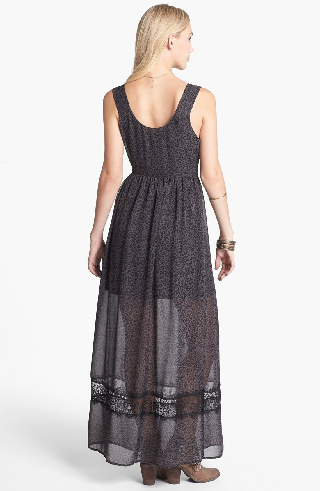 Alternate Image 2  - Mimi Chica Lace Inset Print Maxi Dress (Juniors)