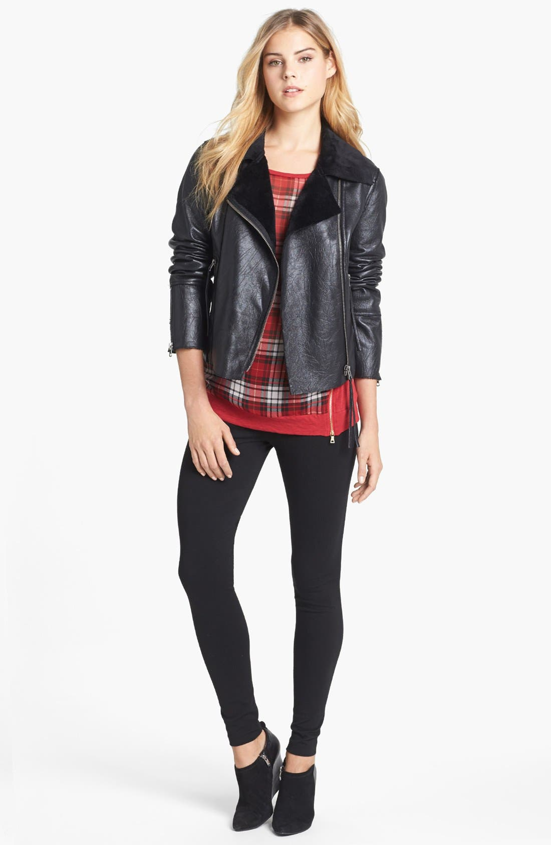 Alternate Image 4  - Two by Vince Camuto Faux Leather Moto Jacket