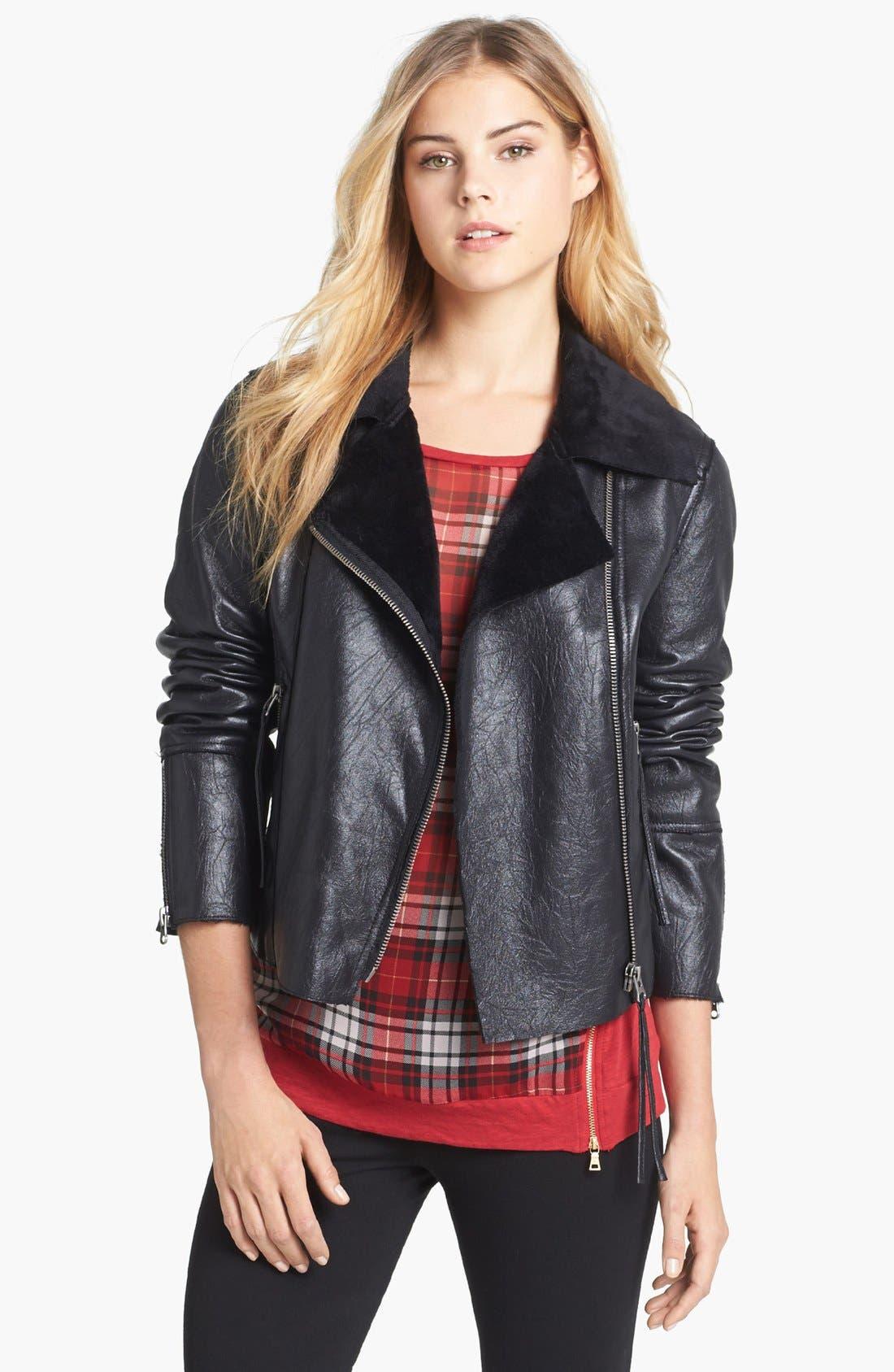 Alternate Image 1 Selected - Two by Vince Camuto Faux Leather Moto Jacket