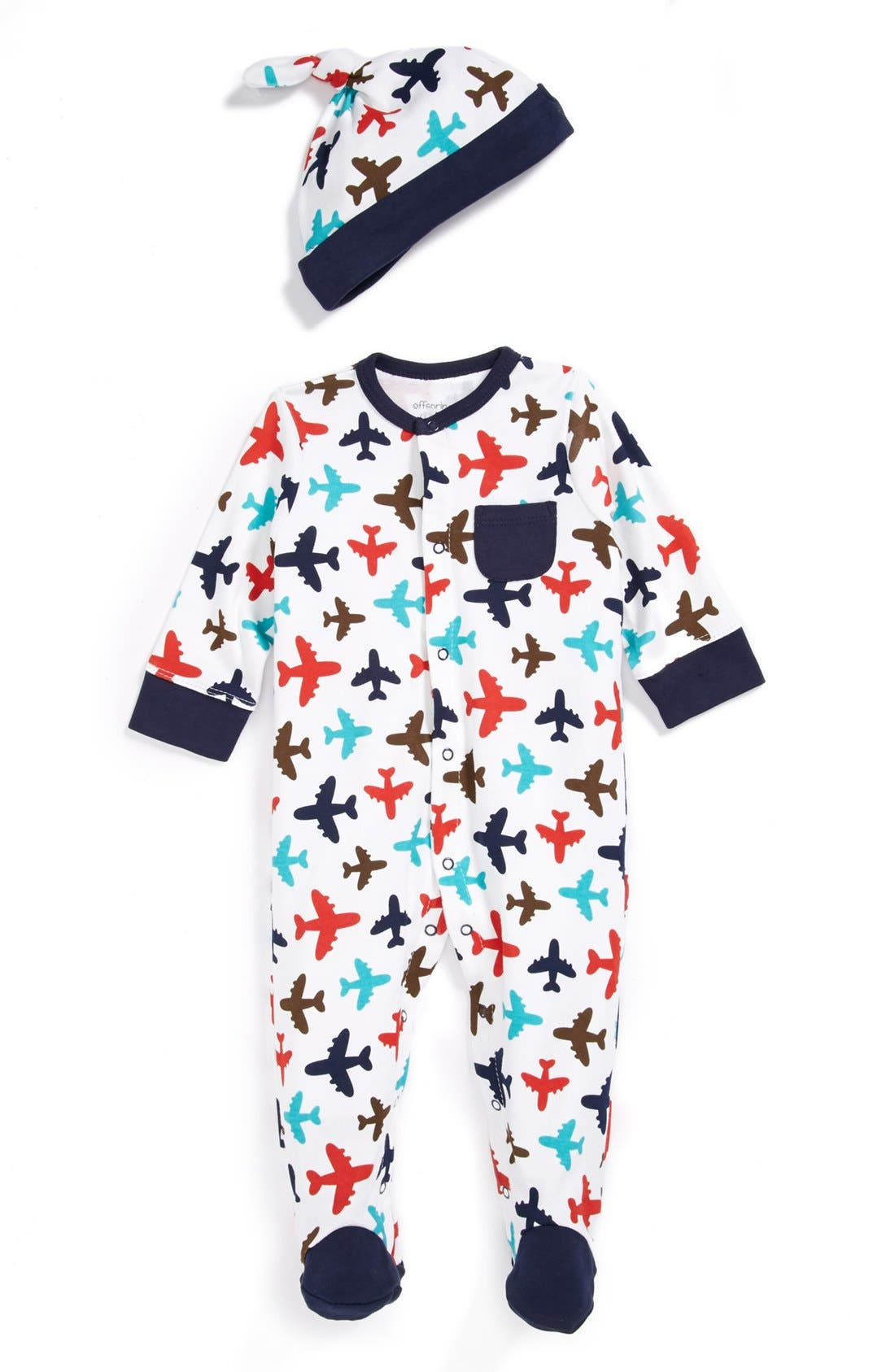 Alternate Image 1 Selected - Offspring One-Piece & Hat (Baby Boys)