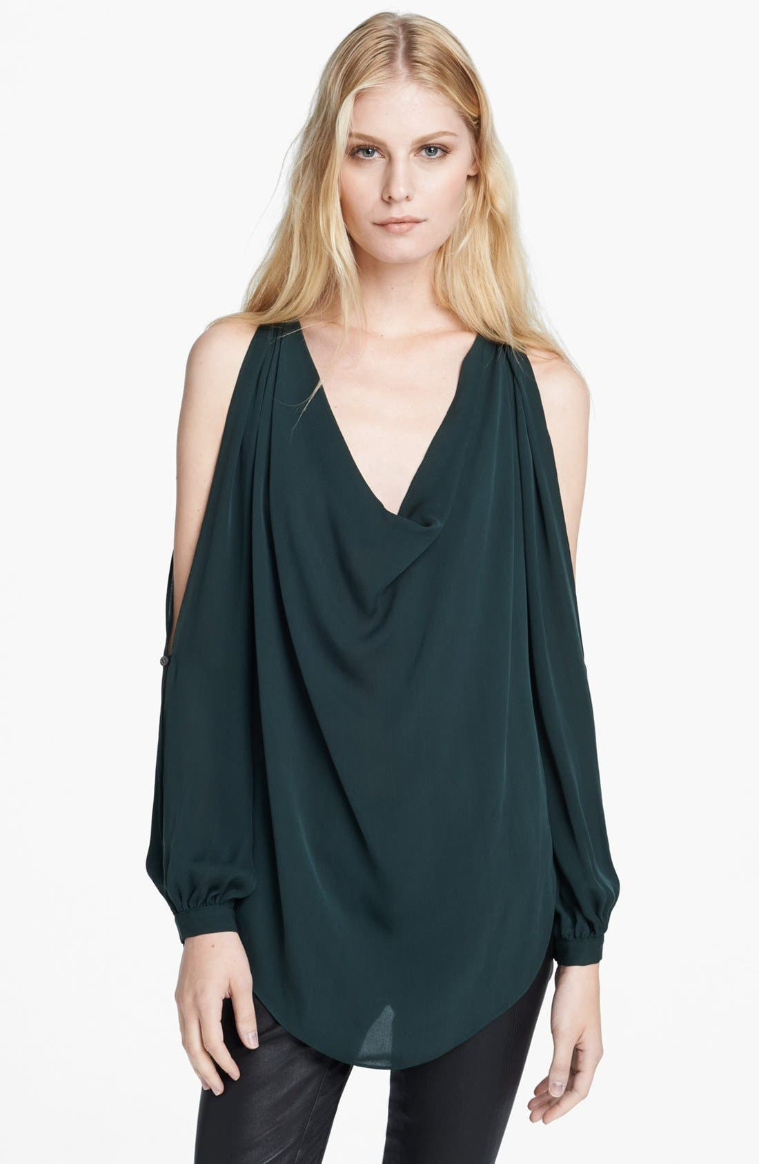 Alternate Image 1 Selected - Haute Hippie Cowl Neck Cold Shoulder Blouse