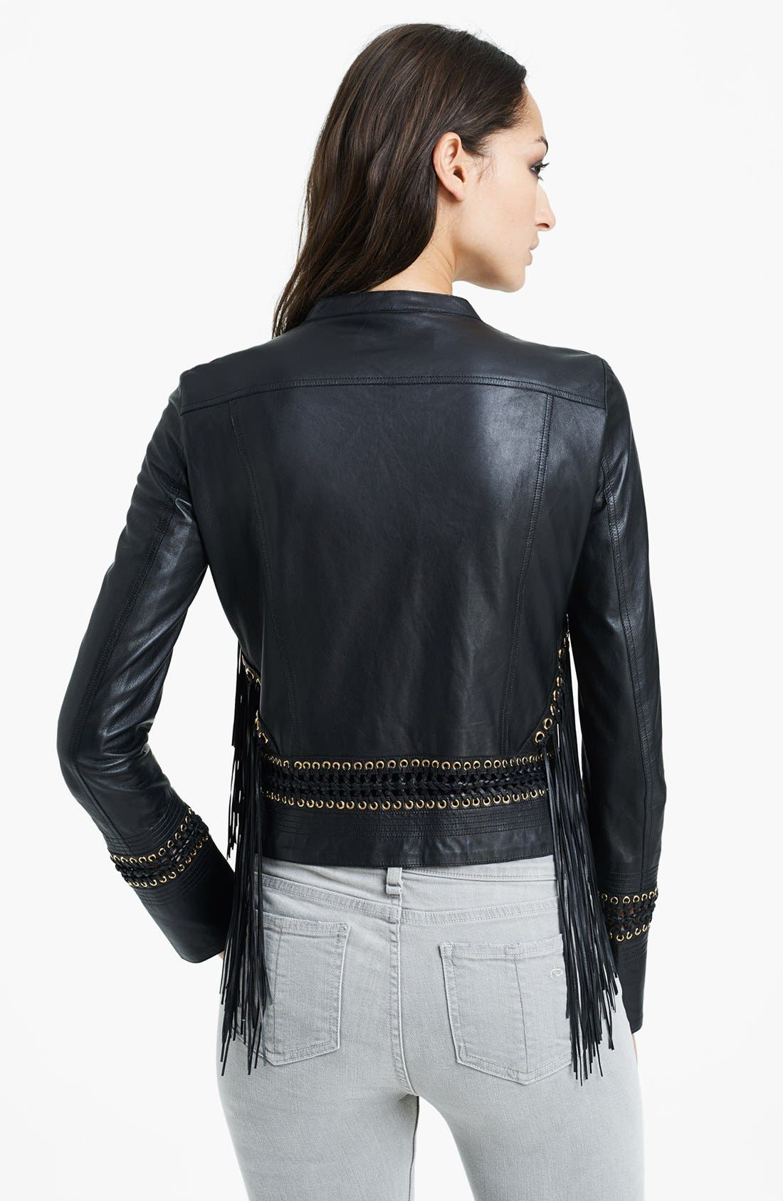 Alternate Image 2  - Roberto Cavalli Fringe Detail Leather Jacket