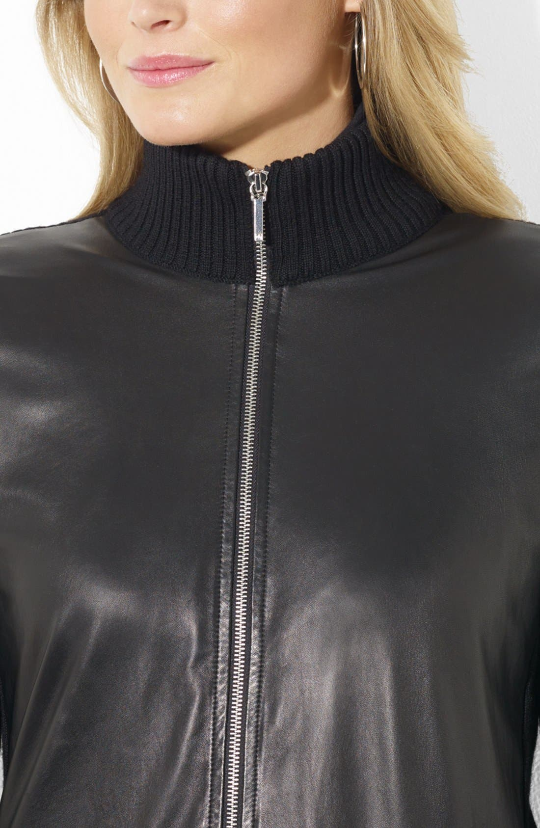 Alternate Image 4  - Lauren Ralph Lauren Leather Front Cardigan (Plus Size)