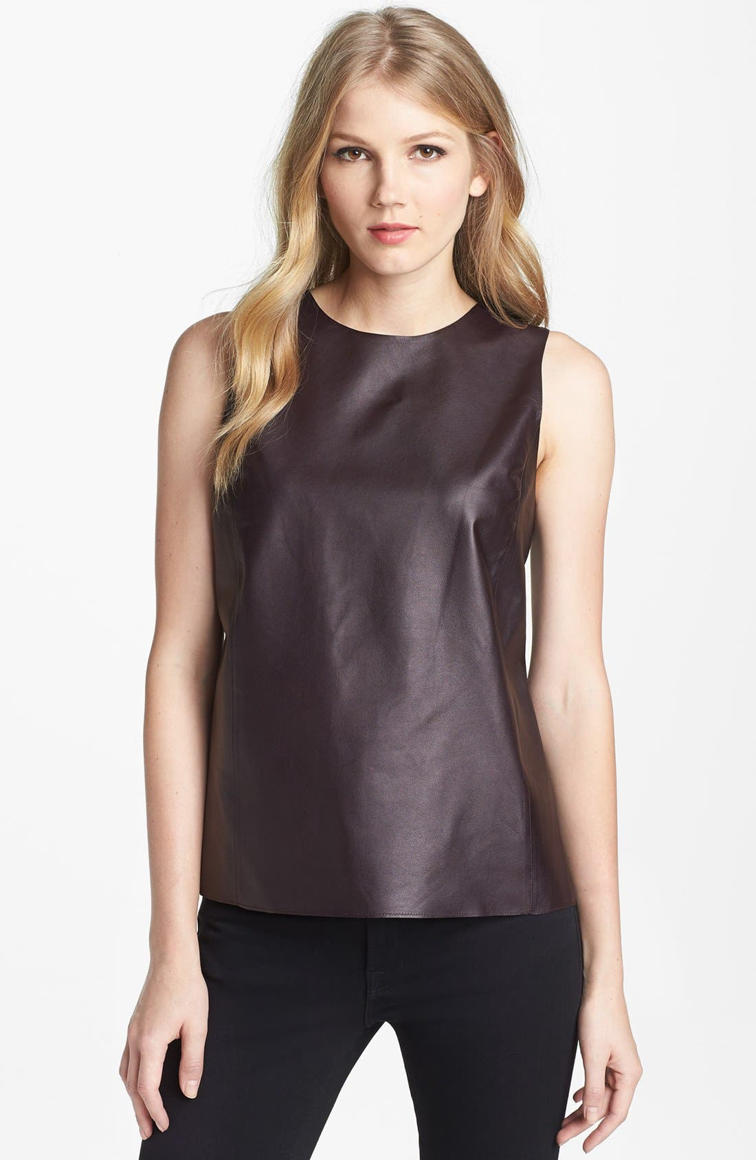 Alternate Image 1 Selected - Vince Leather & Stretch Silk Shell
