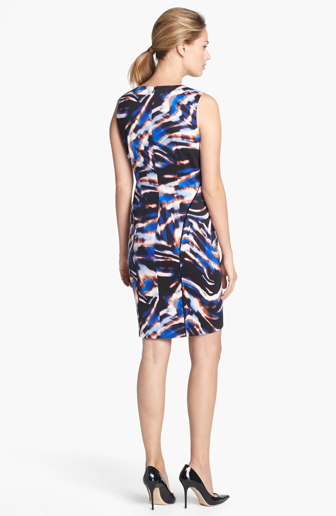 Alternate Image 2  - Calvin Klein Pleated Neck Print Sheath Dress