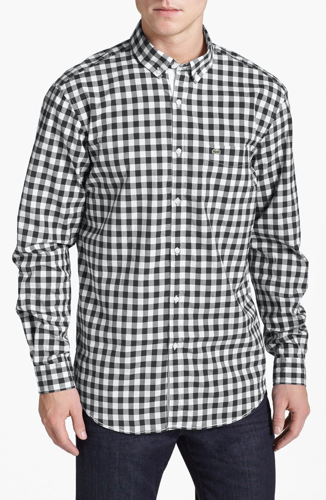 Alternate Image 1 Selected - Lacoste Gingham Poplin Shirt