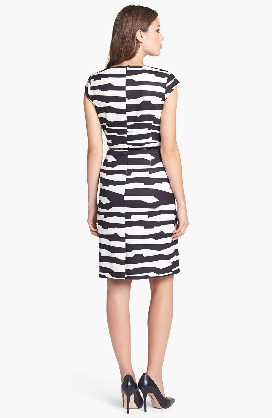 Alternate Image 2  - Tahari Belted Print Scuba Sheath Dress