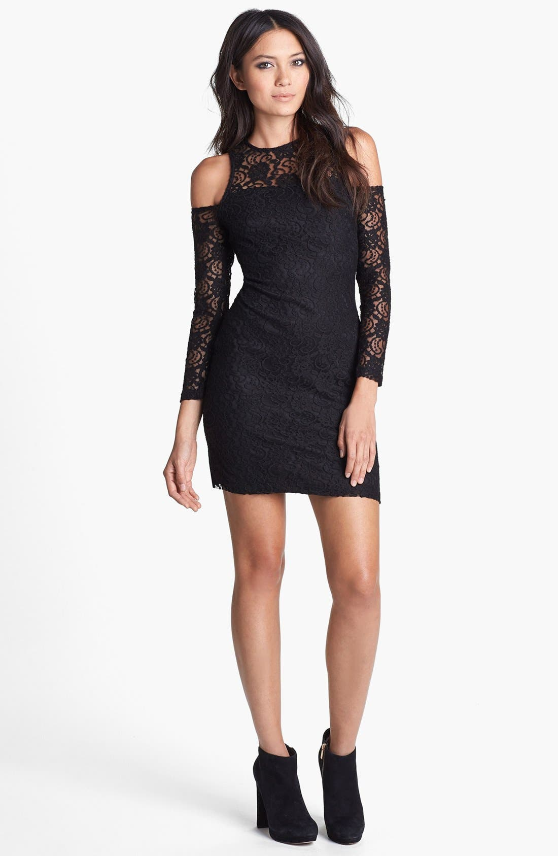 Alternate Image 1 Selected - Glamorous Cold Shoulder Lace Body-Con Dress