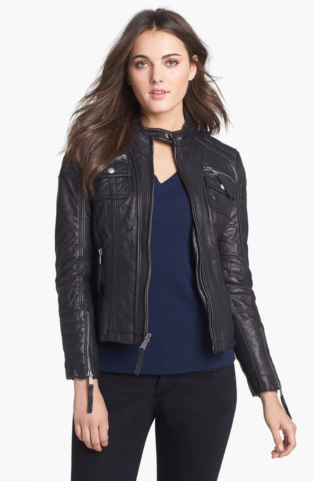 Main Image - MICHAEL Michael Kors Leather Moto Jacket