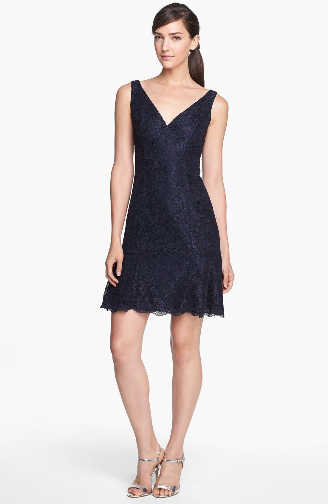 Main Image - ML Monique Lhuillier Bridesmaids Ruffle Hem Lace Dress (Nordstrom Exclusive)