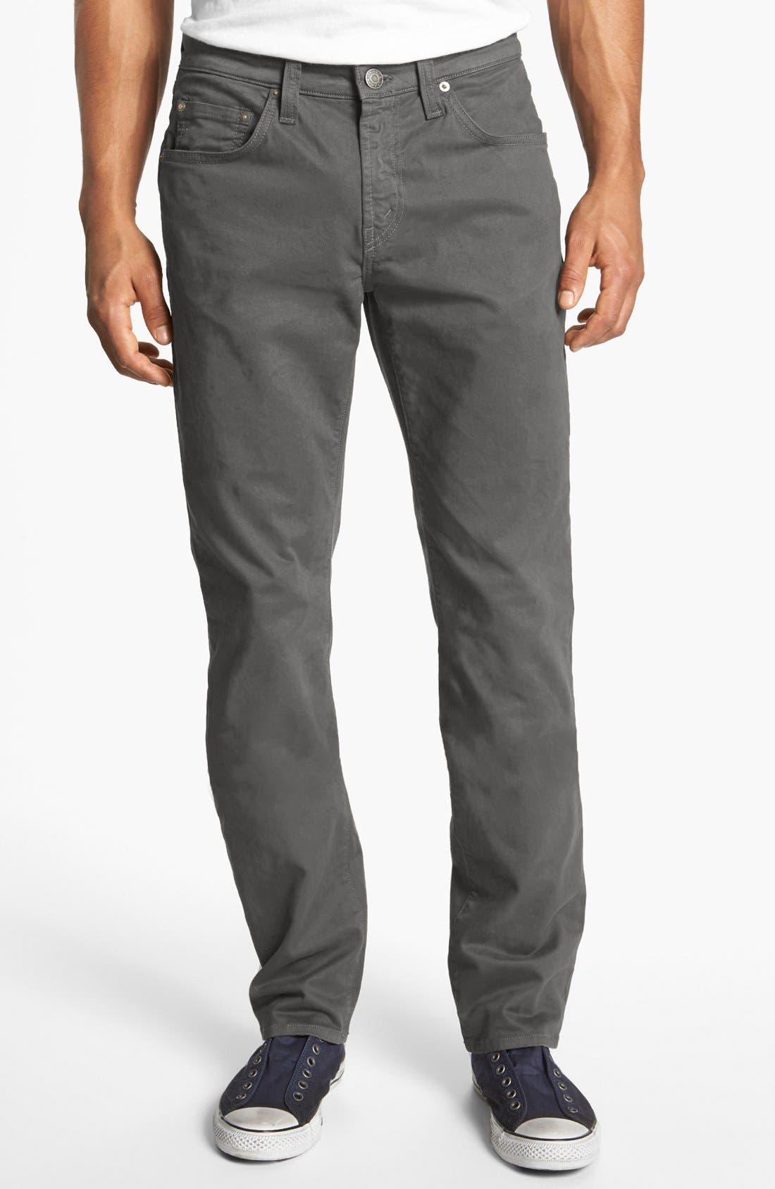 'Kane' Slim Fit Cotton Twill Pants,                             Main thumbnail 1, color,                             Industrial