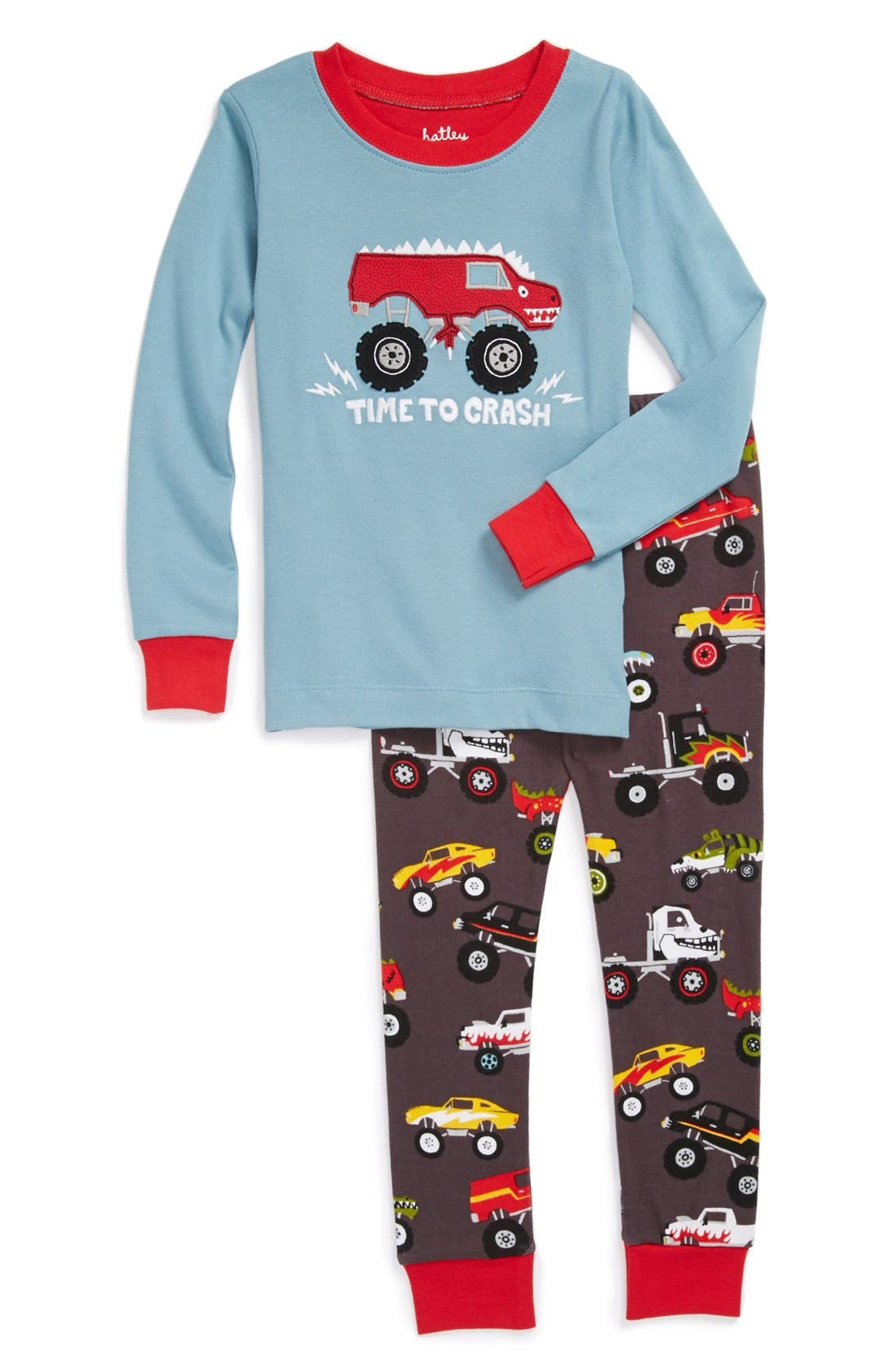 Main Image - Hatley 'Monster Trucks' Two-Piece Fitted Pajamas (Toddler Boys)