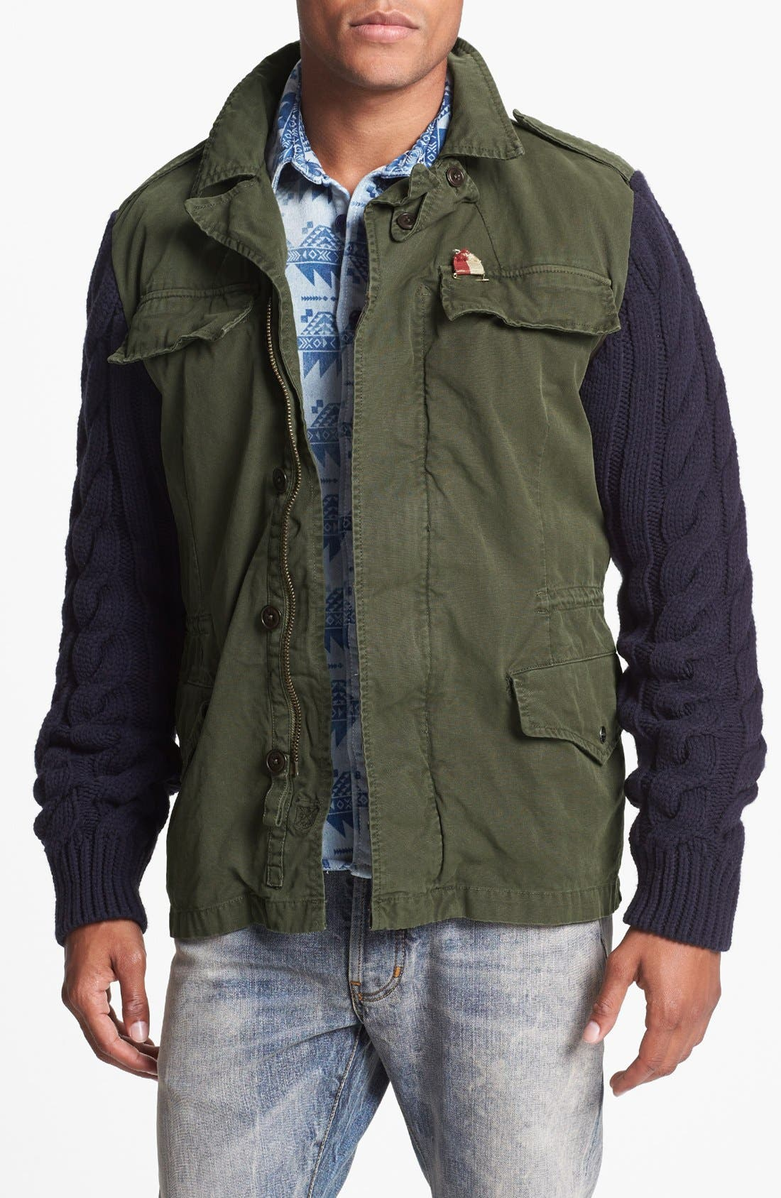 Main Image - Scotch & Soda Military Jacket with Knit Sleeves