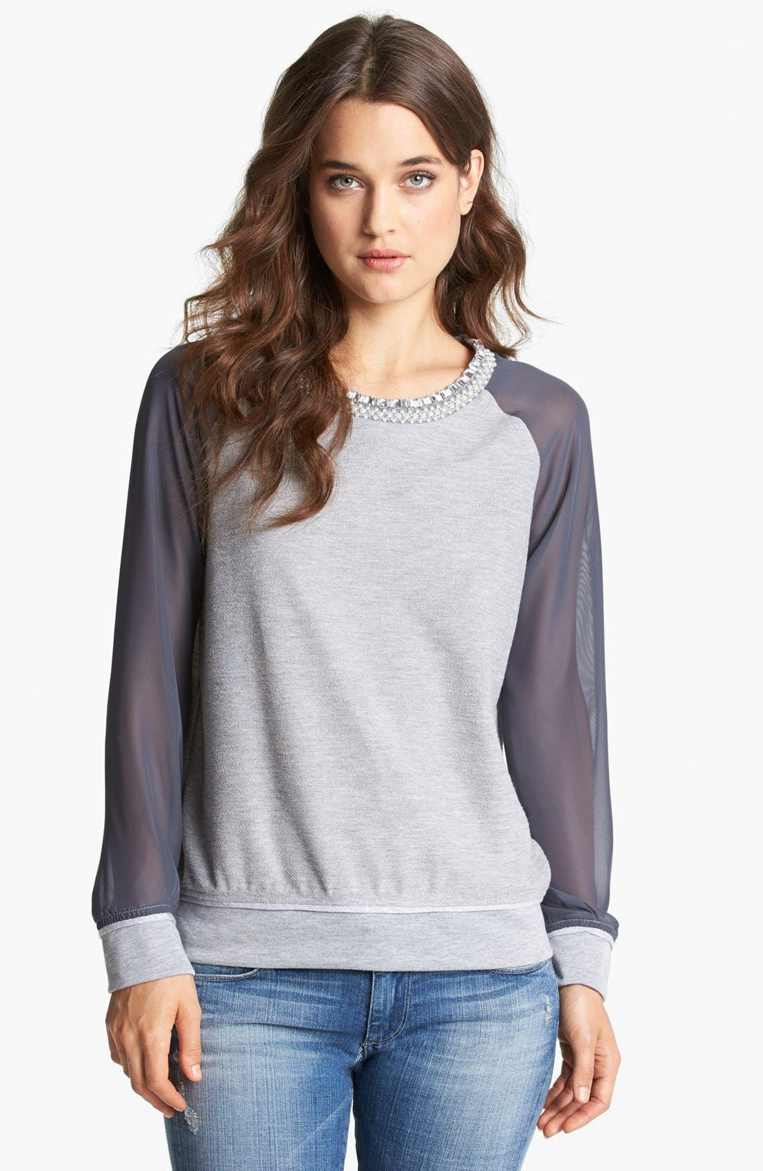 Alternate Image 1 Selected - Gibson Embellished Neck Sweatshirt (Petite)