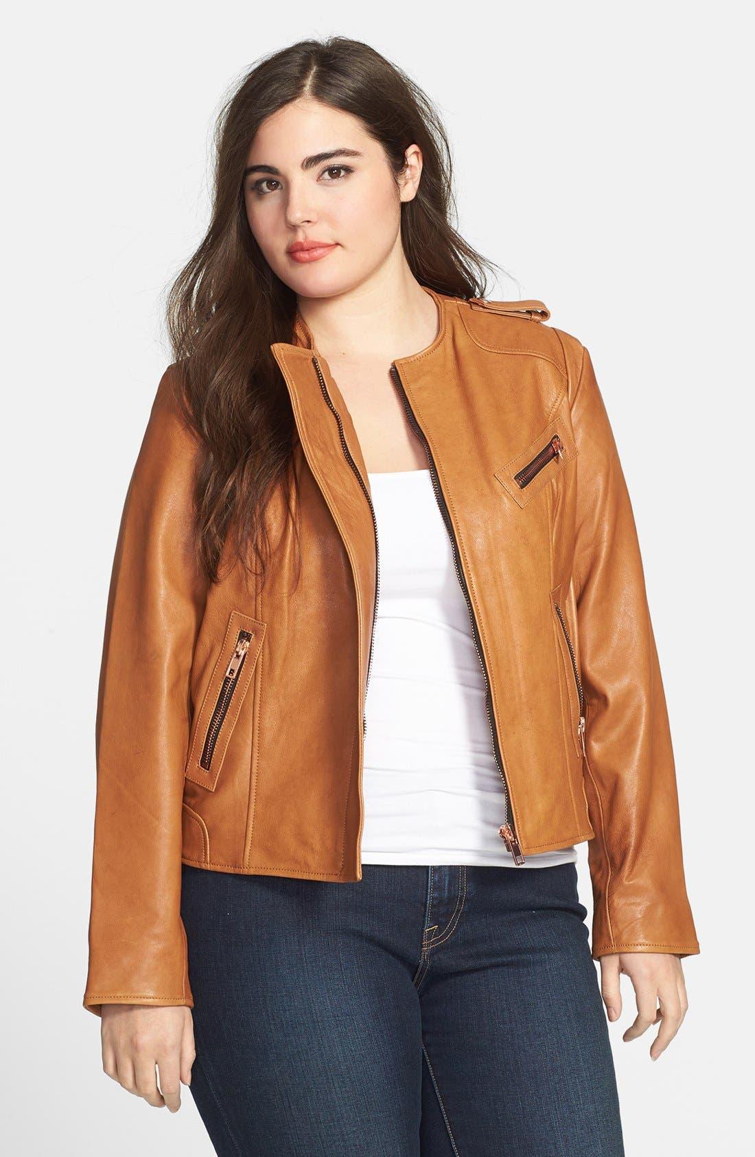Alternate Image 1 Selected - John Carlisle Leather Moto Jacket (Plus Size)