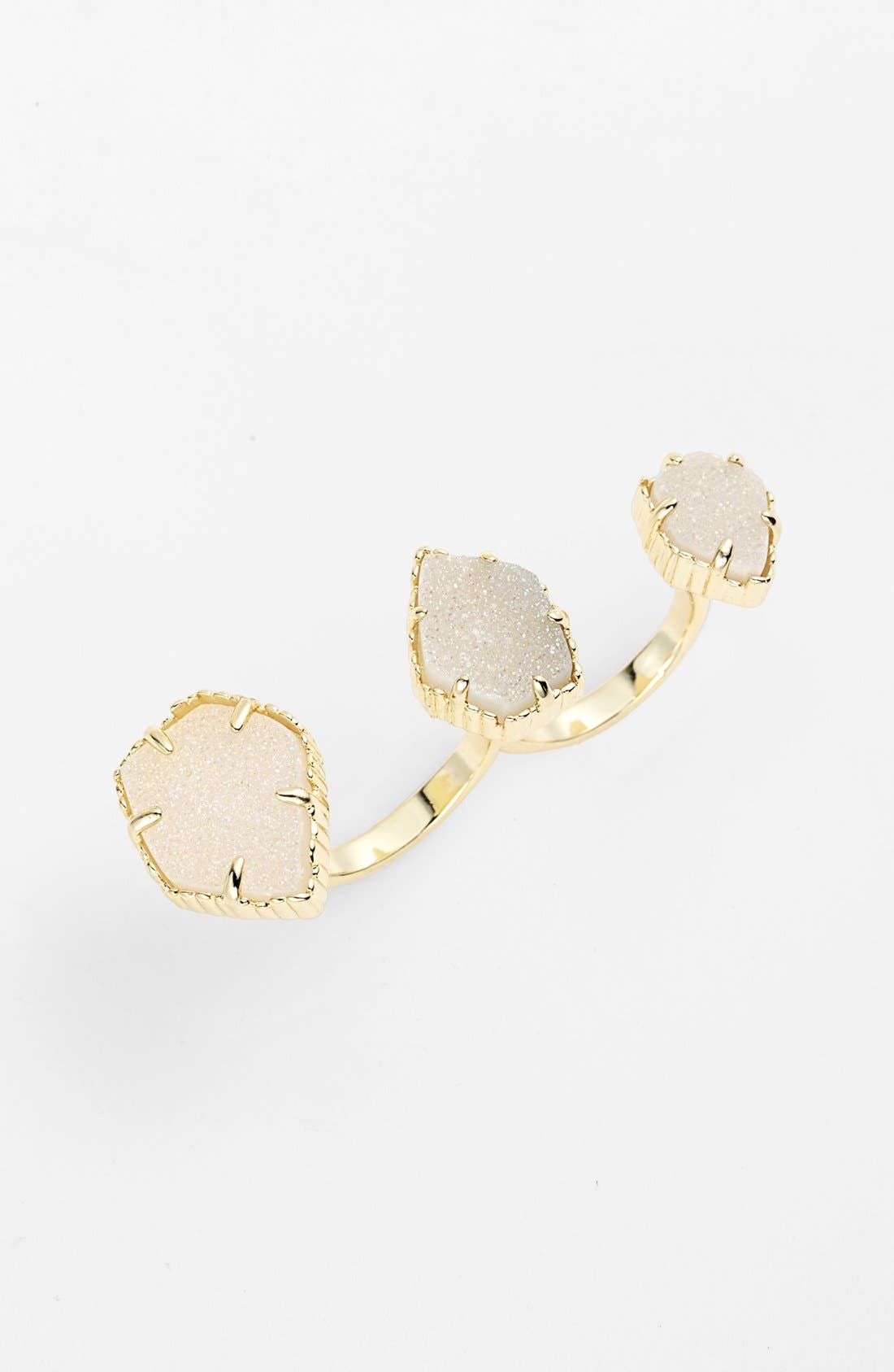Main Image - Kendra Scott 'Naomi' Drusy Double Finger Ring