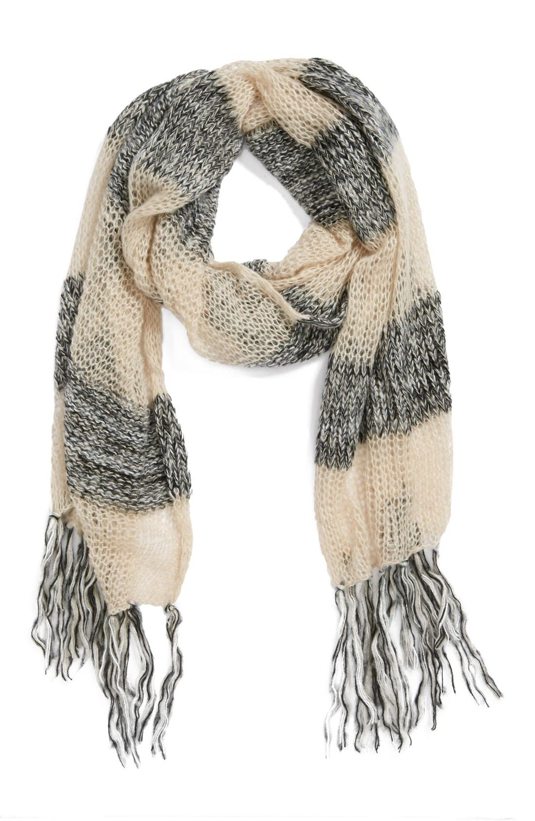 Alternate Image 1 Selected - BP. Open Knit Stripe Scarf (Juniors)