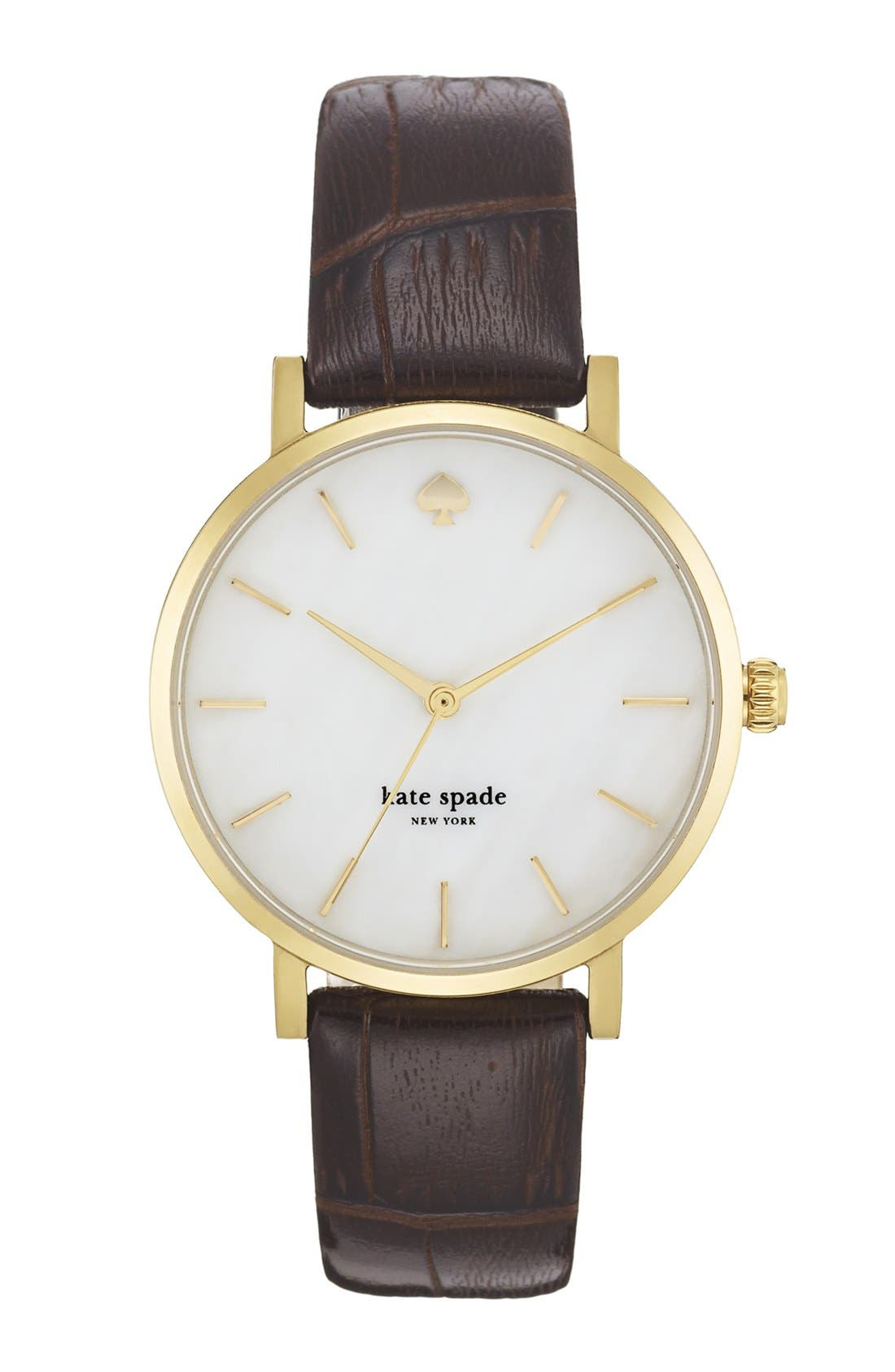 Main Image - kate spade new york 'metro' embossed leather strap watch