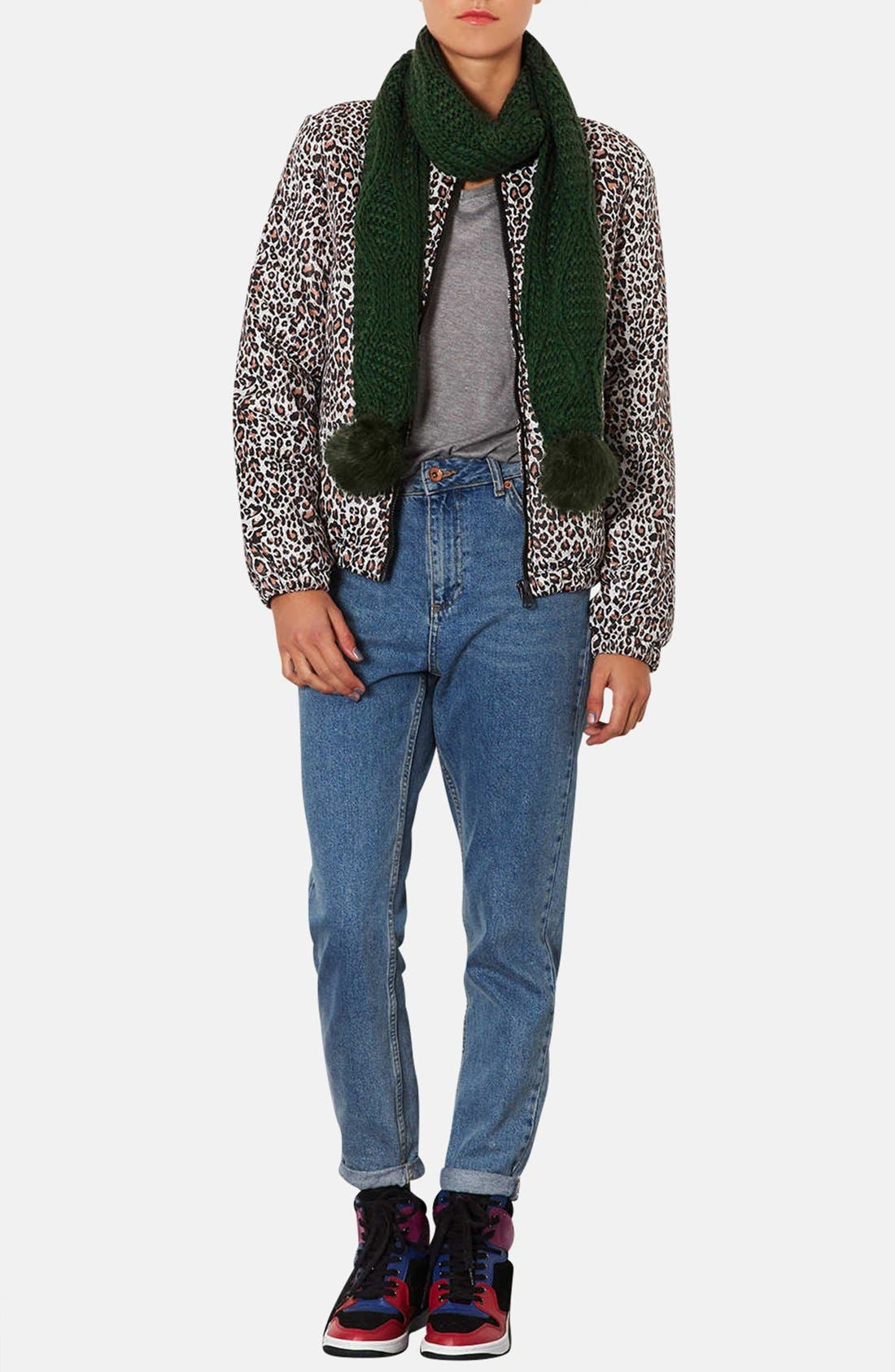 Alternate Image 2  - Topshop Cable Knit Pompom Scarf