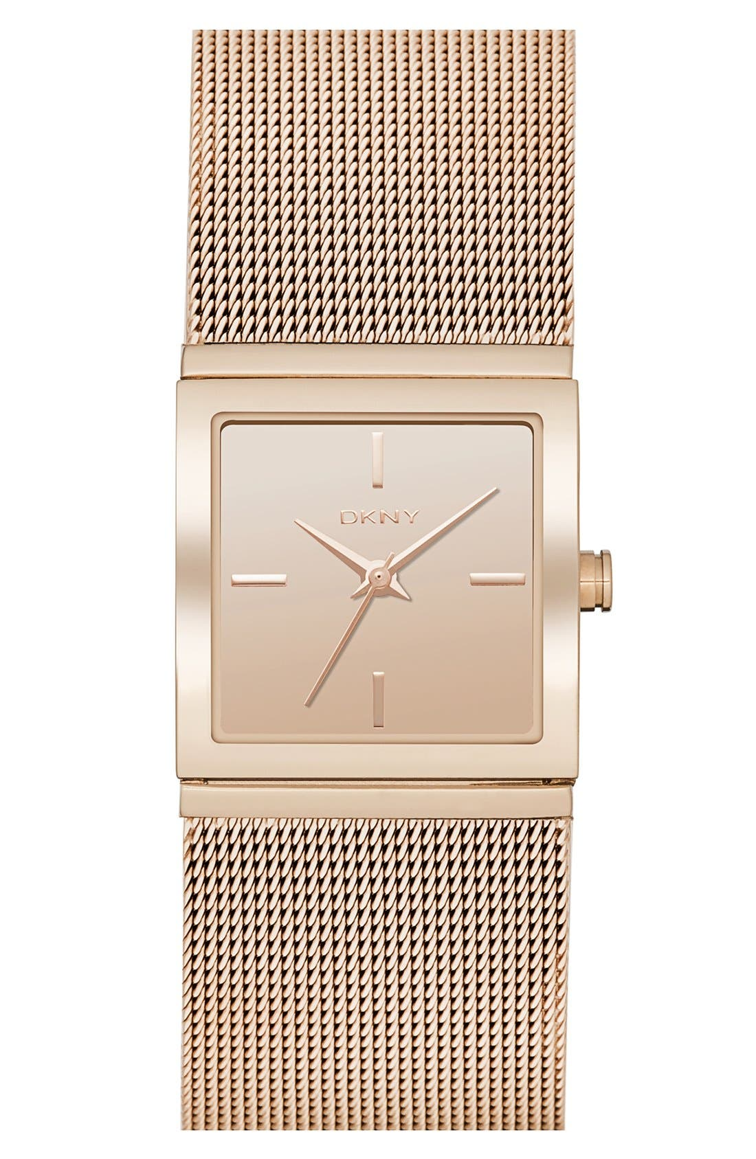 Alternate Image 1 Selected - DKNY 'Bryant Park' Square Mesh Strap Watch, 21mm