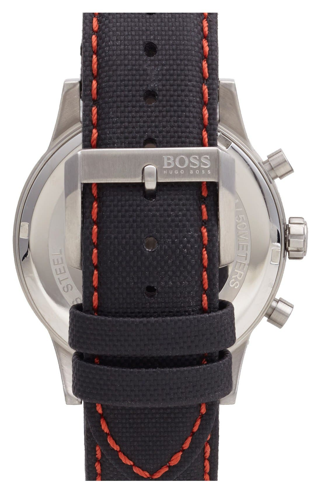Alternate Image 2  - BOSS Chronograph Textured Leather Strap Watch, 44mm