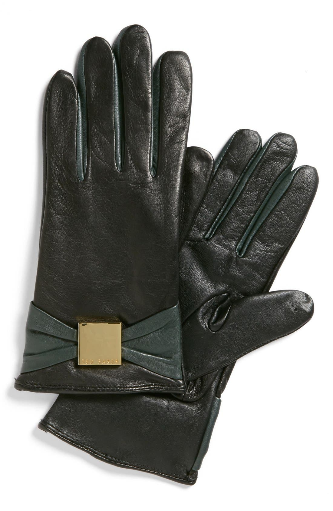 Main Image - Ted Baker London 'Bow' Leather Tech Gloves