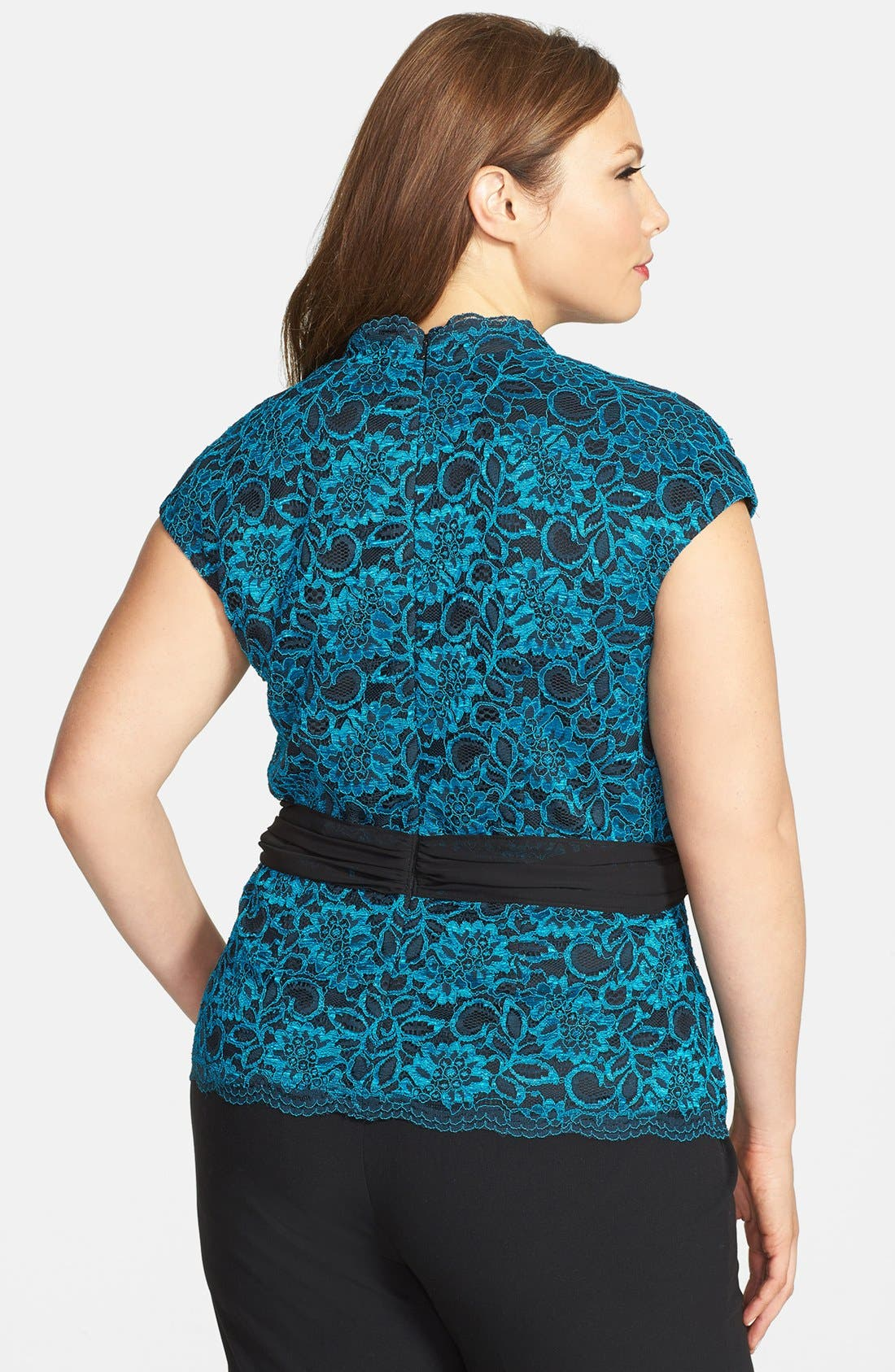 Alternate Image 2  - Alex Evenings Cap Sleeve Surplice Neckline Lace Blouse with Tie Belt (Plus Size)