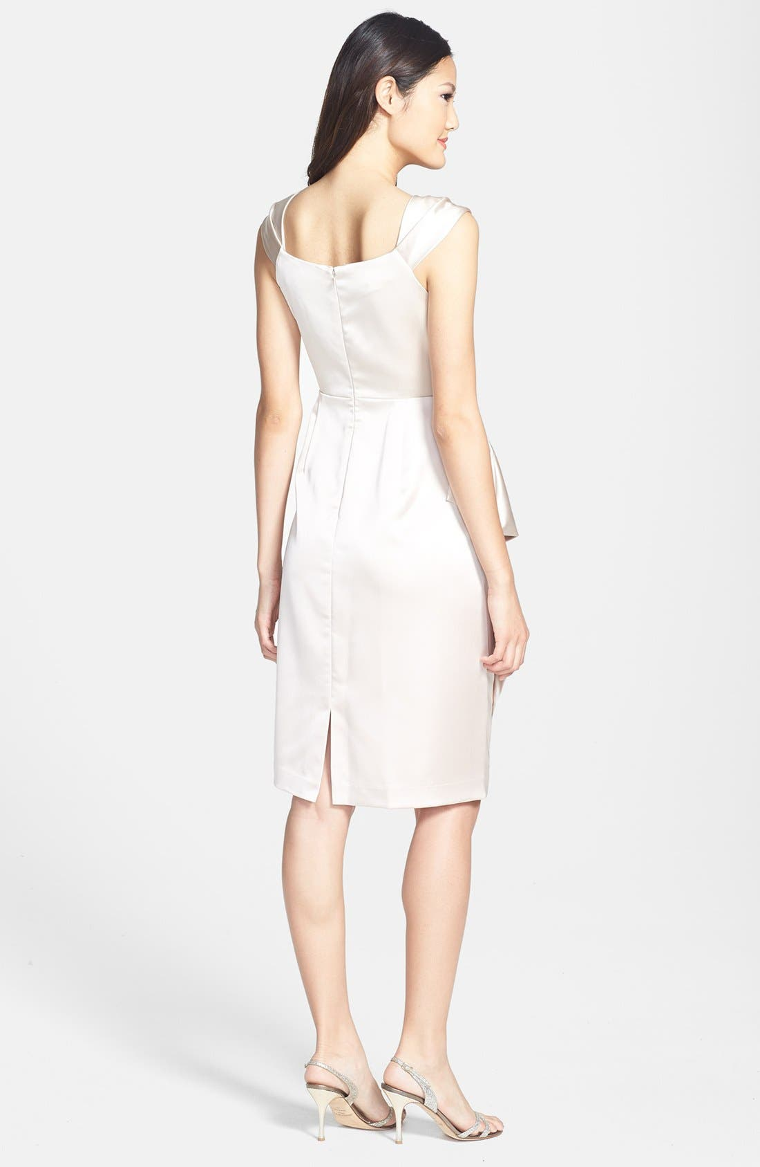Alternate Image 2  - Maggy London Stretch Satin Sheath Dress (Regular & Petite)