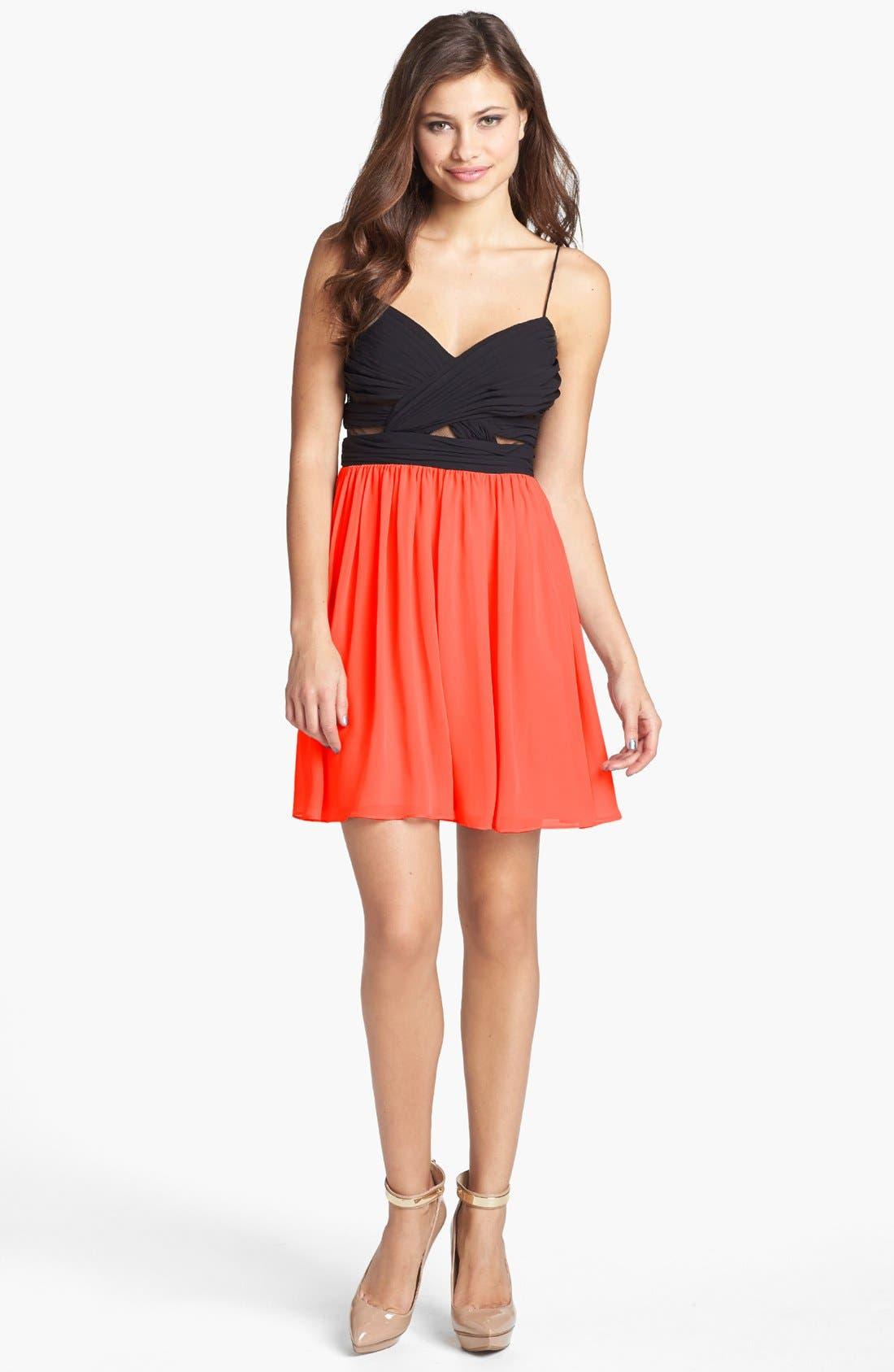 Alternate Image 1 Selected - Hailey Logan Mesh Inset Chiffon Skater Dress (Juniors) (Online Only)