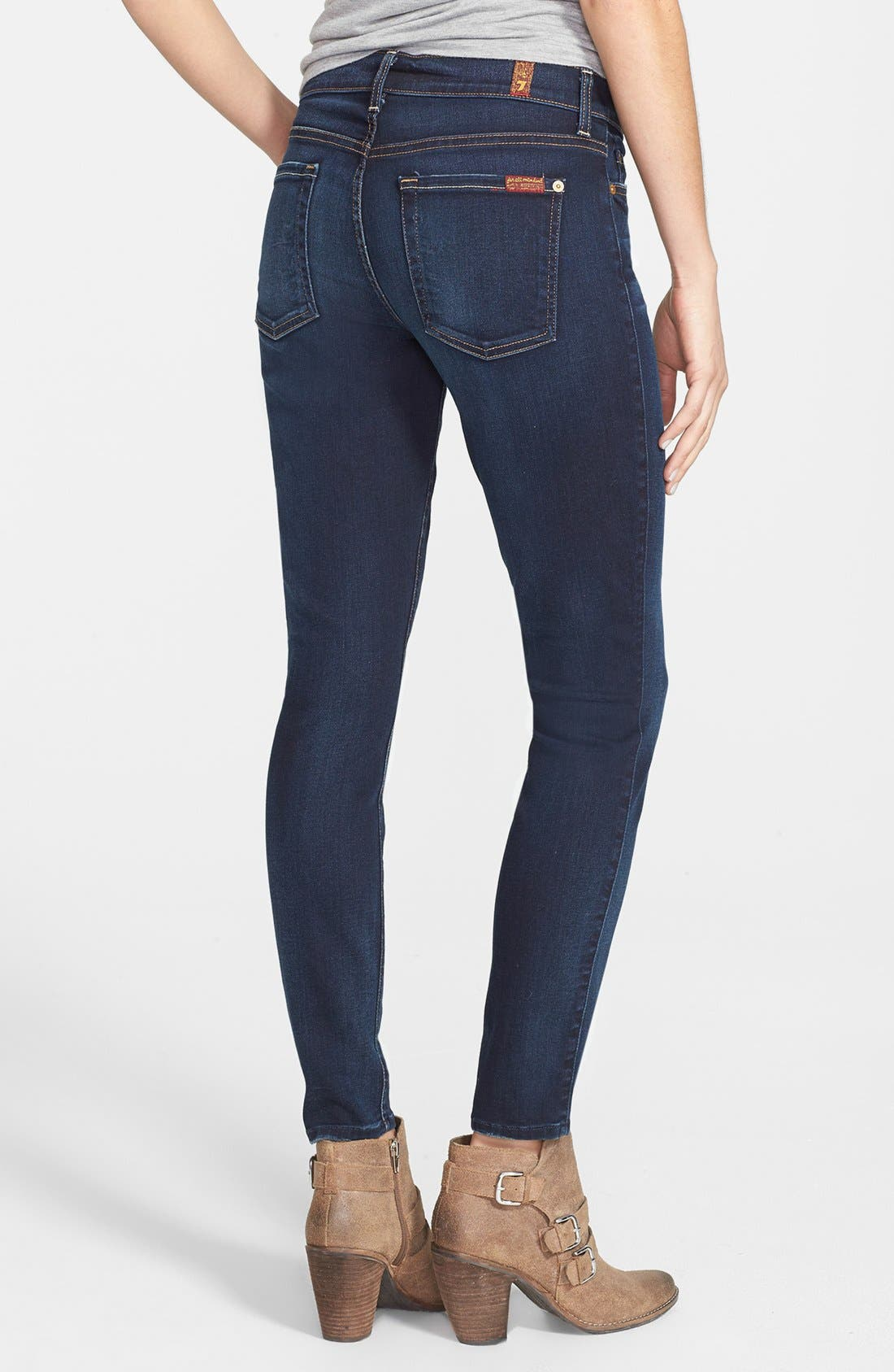 Alternate Image 2  - 7 For All Mankind® Skinny Ankle Jeans (Merci Blue)