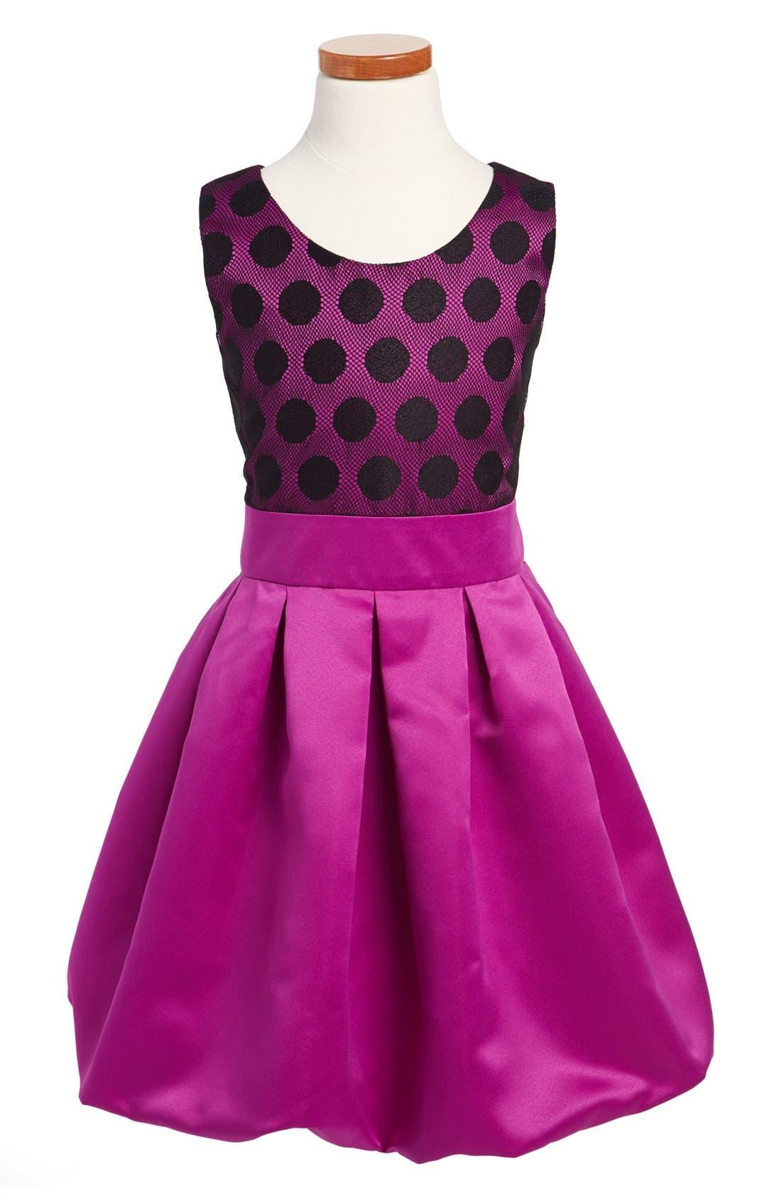 Alternate Image 1 Selected - Zoe Ltd Dot Satin Bubble Dress (Big Girls)