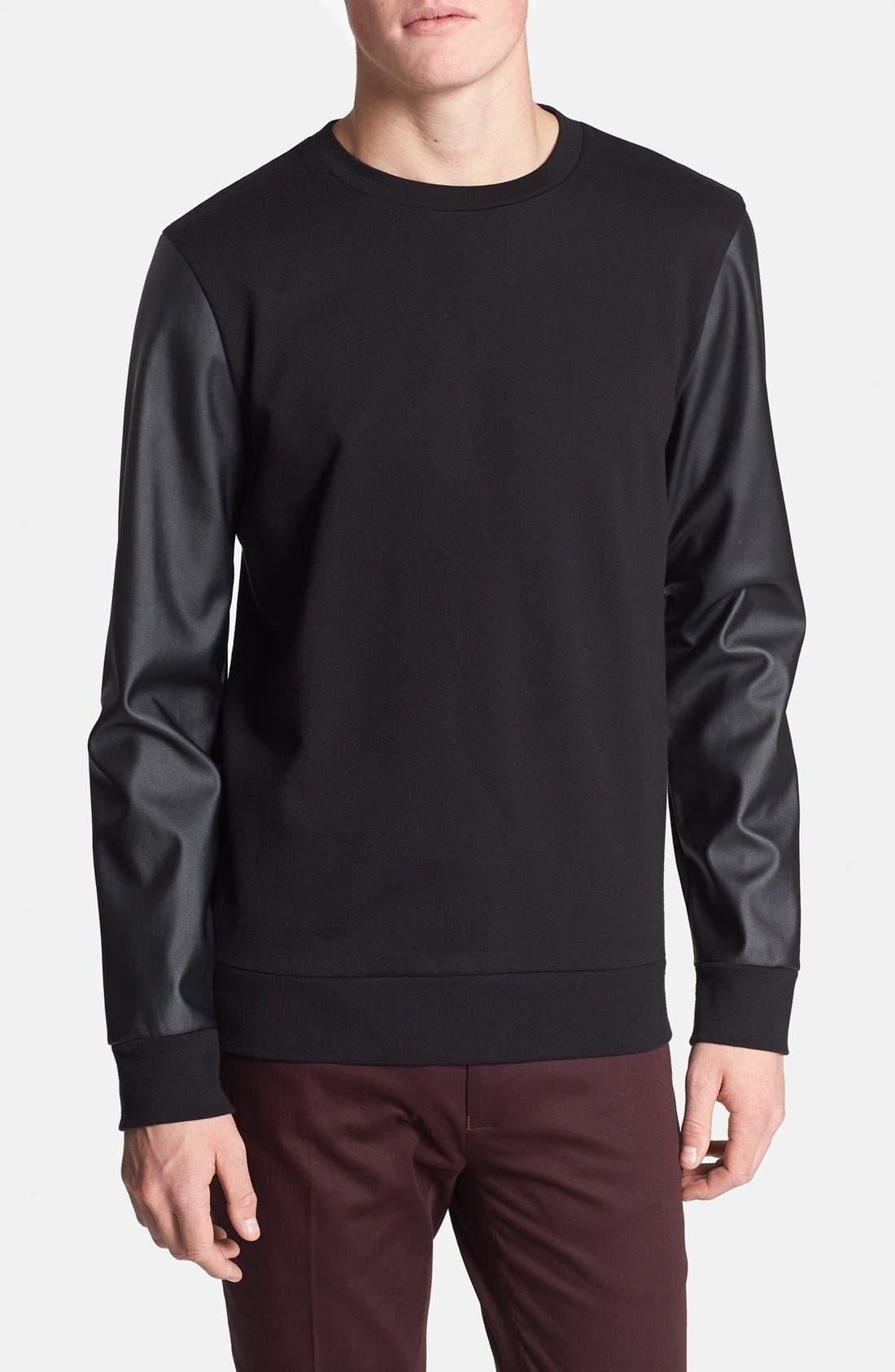 Main Image - Topman Faux Leather Sleeve Crewneck Sweatshirt