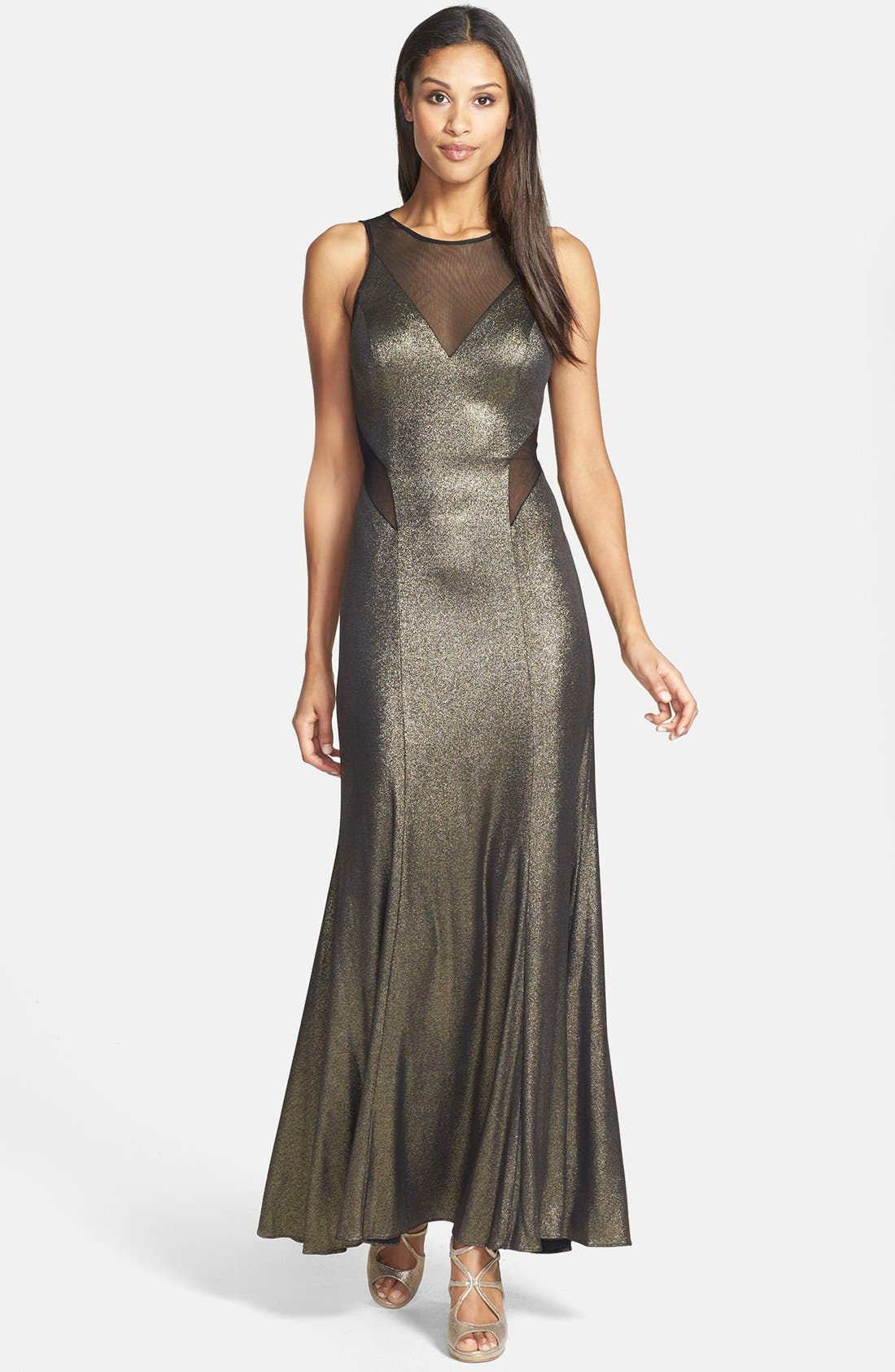 Main Image - Hailey by Adrianna Papell Illusion Cutout Metallic Gown